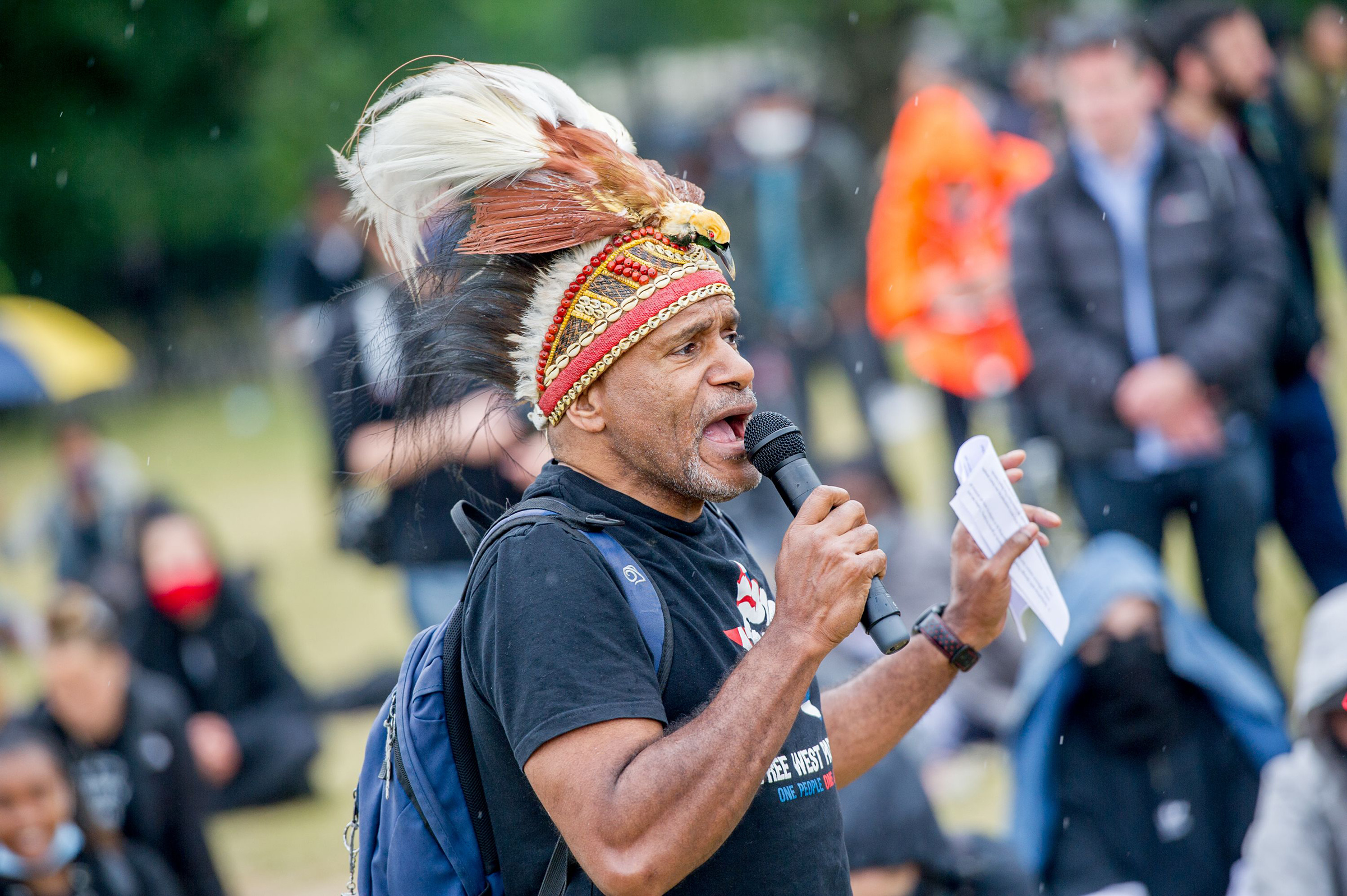 Benny Wenda participates in a Black Lives Matter protest at Hyde Park in response to the death of George Floyd on June 12