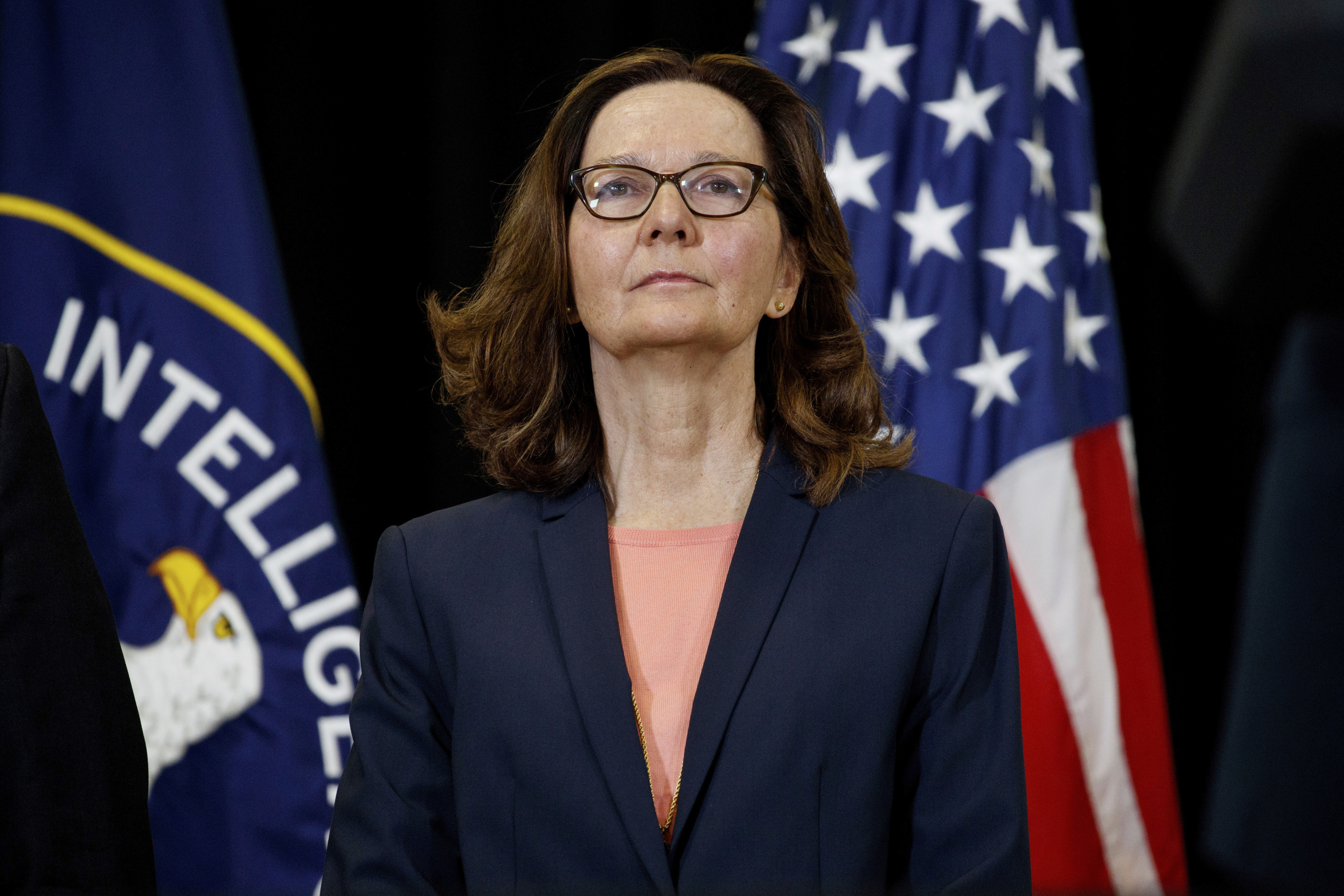 This May 21, 2018 file photo shows incoming Central Intelligence Agency director Gina Haspel at the agency's headquarters in Langley, Va.