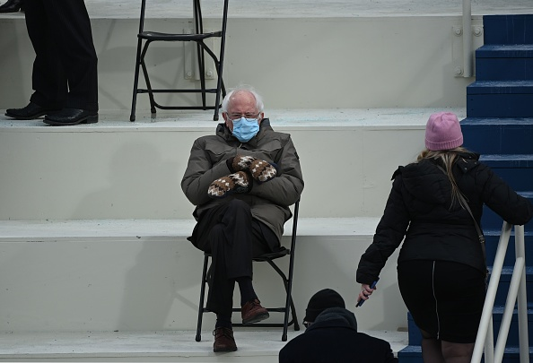 Senator Bernie Sanders sits in the bleachers on Capitol Hill before Joe Biden is sworn in as the 46th U.S. President at the U.S. Capitol in Washington, D.C., on January 20, 2021.