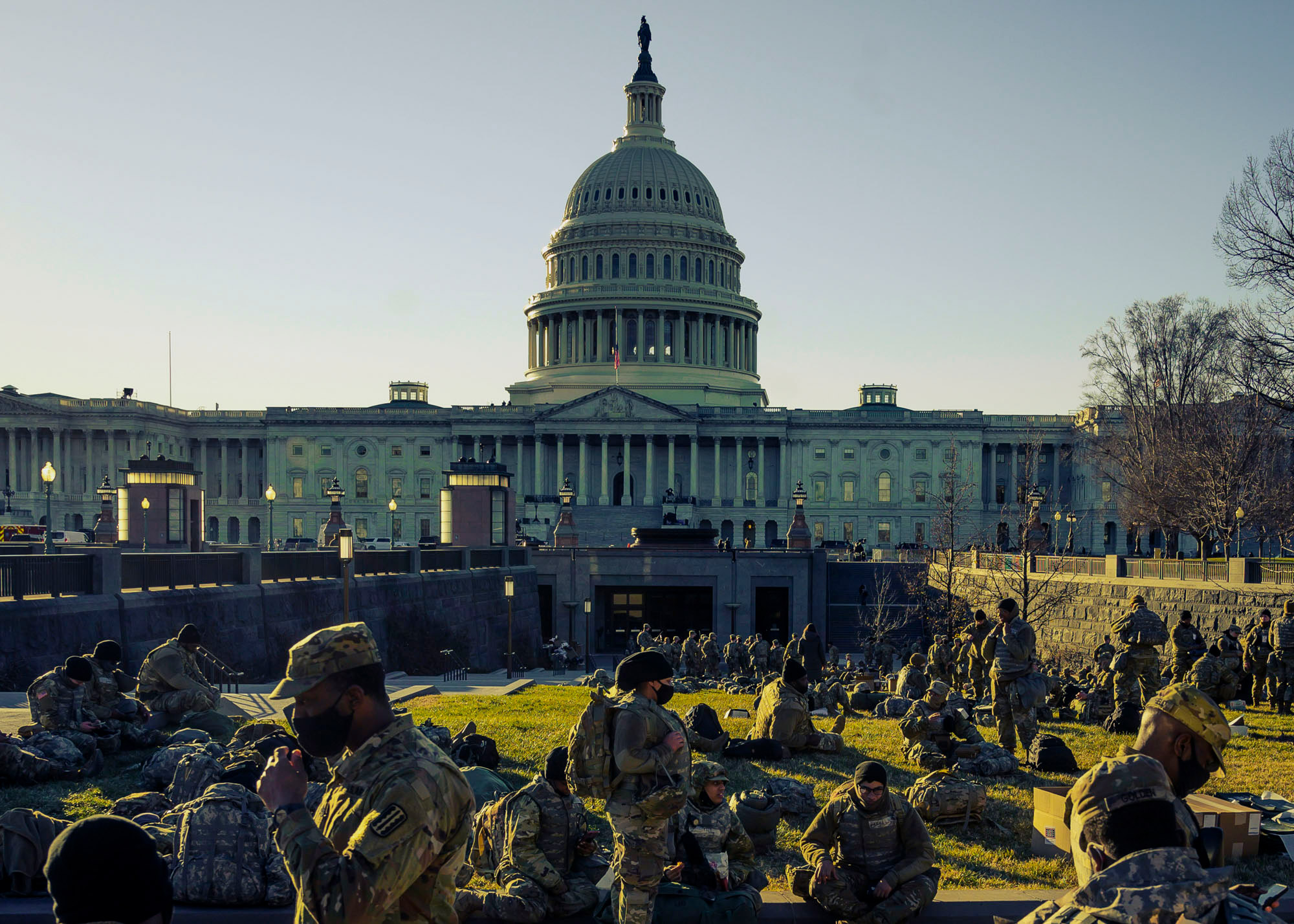 Members of the National Guard outside the Capitol in Washington on Jan. 19, 2021.