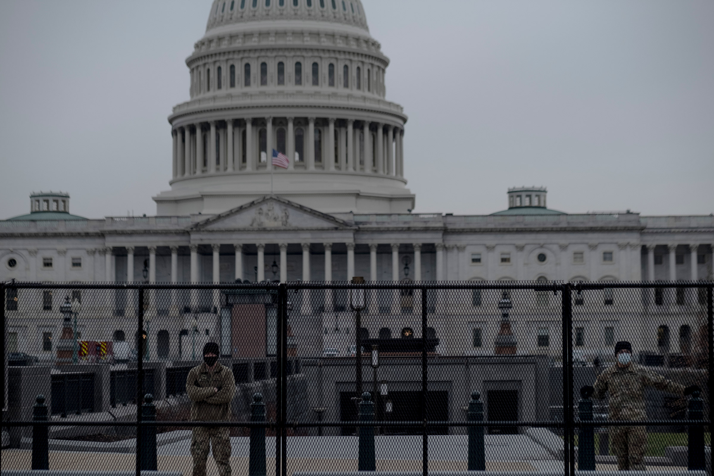 Members of the National Guard form a perimeter around the Capitol in Washington, on Jan. 11, 2020.