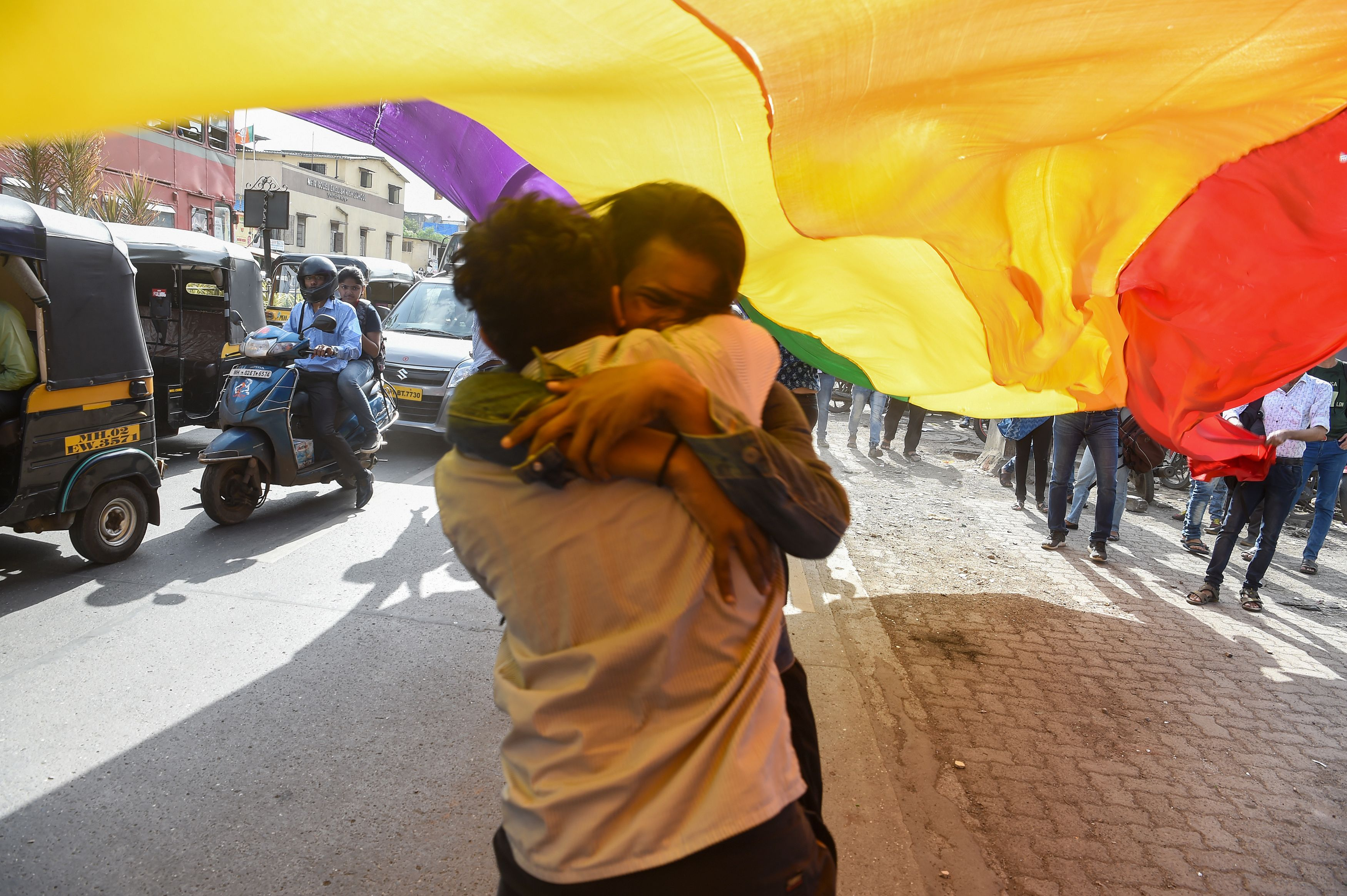 Members and supporters of the LGBTQ community in Mumbai celebrate the Indian supreme court decision to strike down a colonial-era ban on same-sex relations on Sep. 6, 2018.