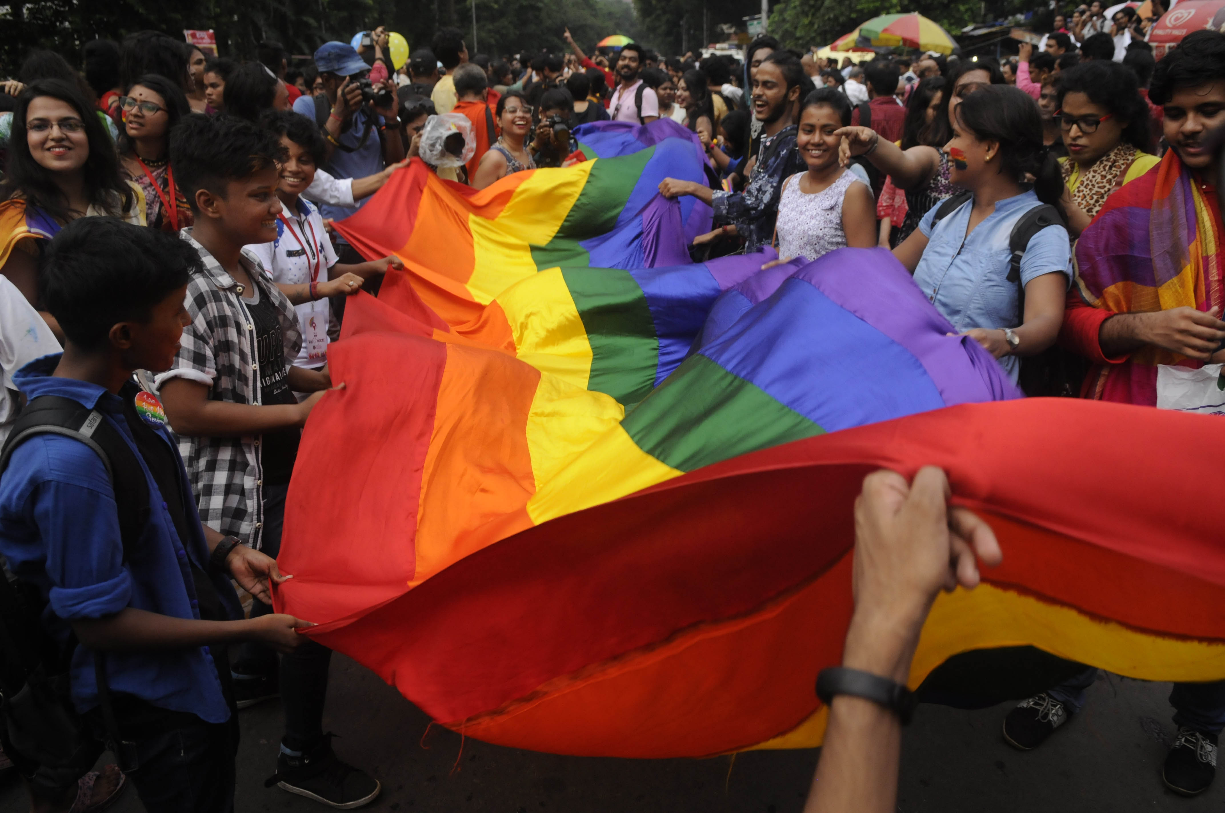 Members of LGBTQ community in Kolkata celebrate the decision by the Indian supreme court to decriminalize same-sex relationships on Sept. 6, 2018.