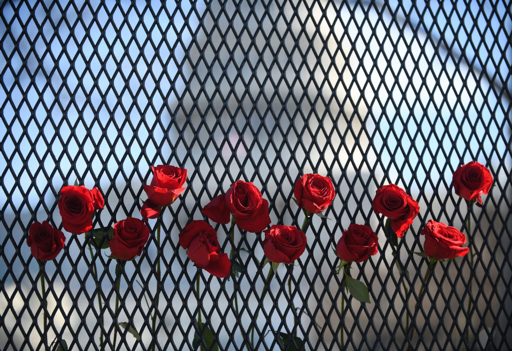 Roses are left at the fence which now surrounds the US Capitol building three days after it was stormed, invaded and vandalized by Trump rioters in Washington, D.C., January 9, 2021.