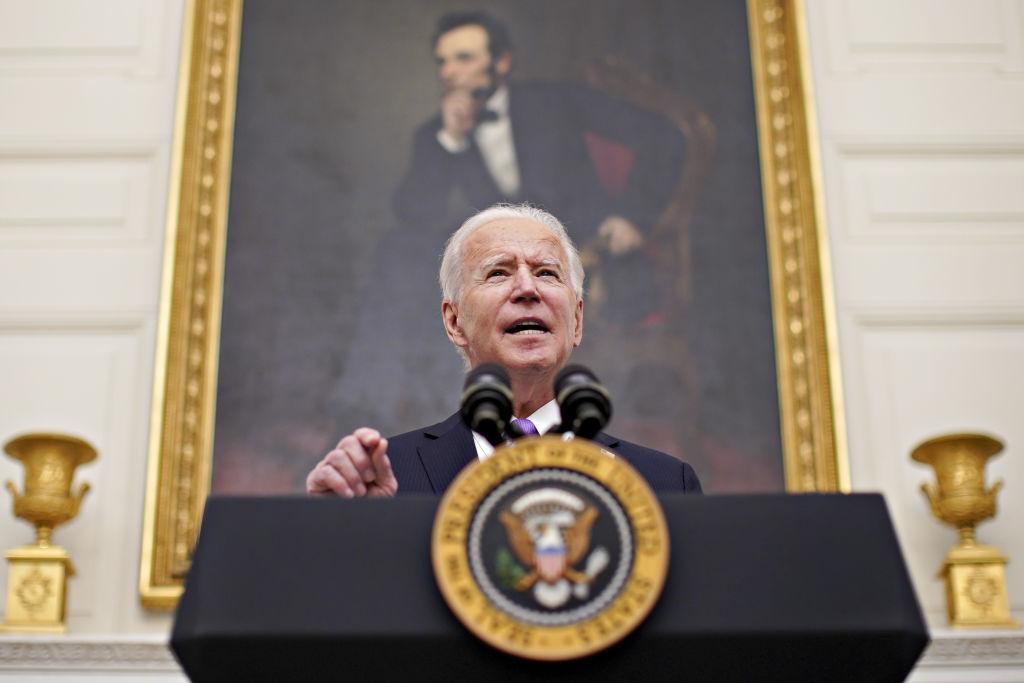 President Joe Biden speaks during an event in the White House in Washington, D.C. on Jan. 21, 2021.