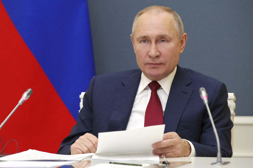 Russia's President Vladimir Putin addresses Davos Agenda 2021, a virtual event of the World Economic Forum (WEF), via a video link from Moscow's Kremlin. Putin addresses the forum for the first time since 2009.