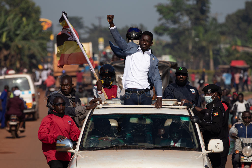 Bobi Wine parades through crowds of people in Kayunga District on Dec. 01, 2020 in Jinja, Uganda