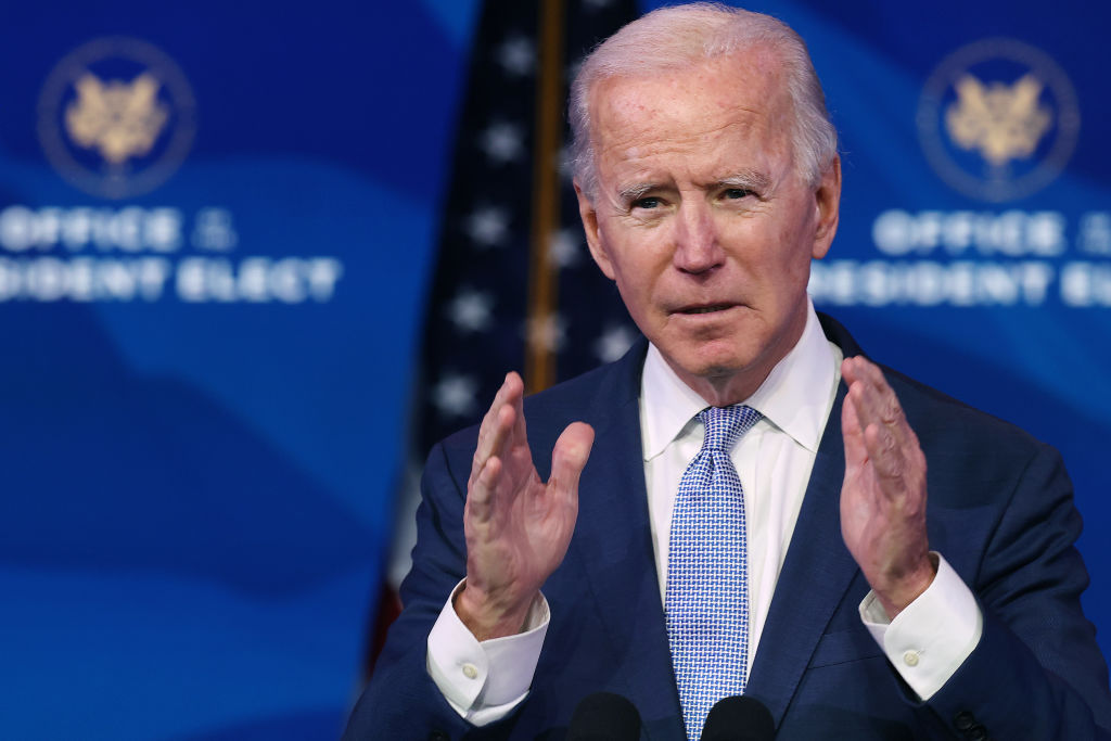 U.S. President-elect Joe Biden delivers remarks about the storming of the U.S. Capitol by a pro-Trump mob at The Queen theater January 06, 2021 in Wilmington, Delaware.