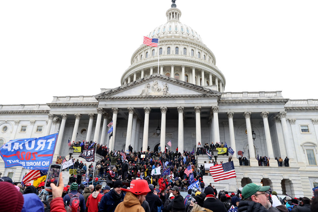 Protesters gather on the U.S. Capitol Building on January 06, 2021 in Washington, DC.