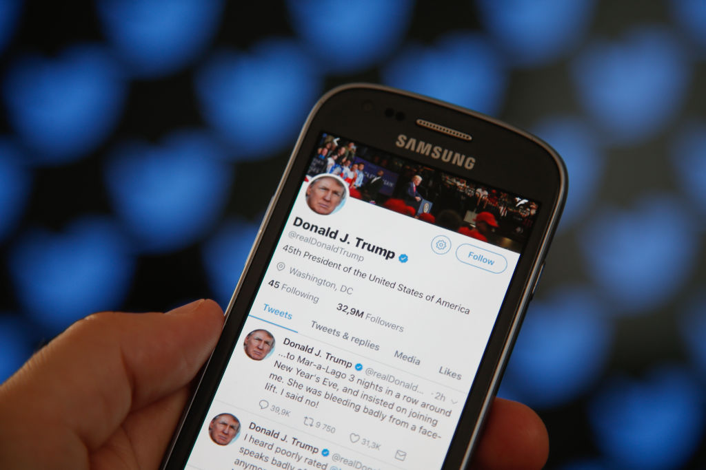 The Twitter timeline of US president Donald Trump is seen on 29 June, 2017, in Bydgoszcz,Poland.