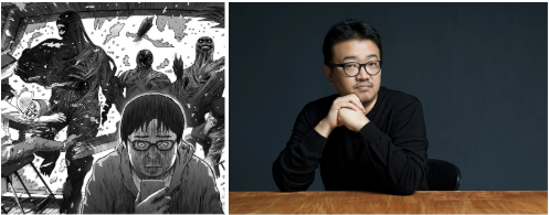 Image from the webtoon Hell (left), Director Yeon Sang-Ho (right)