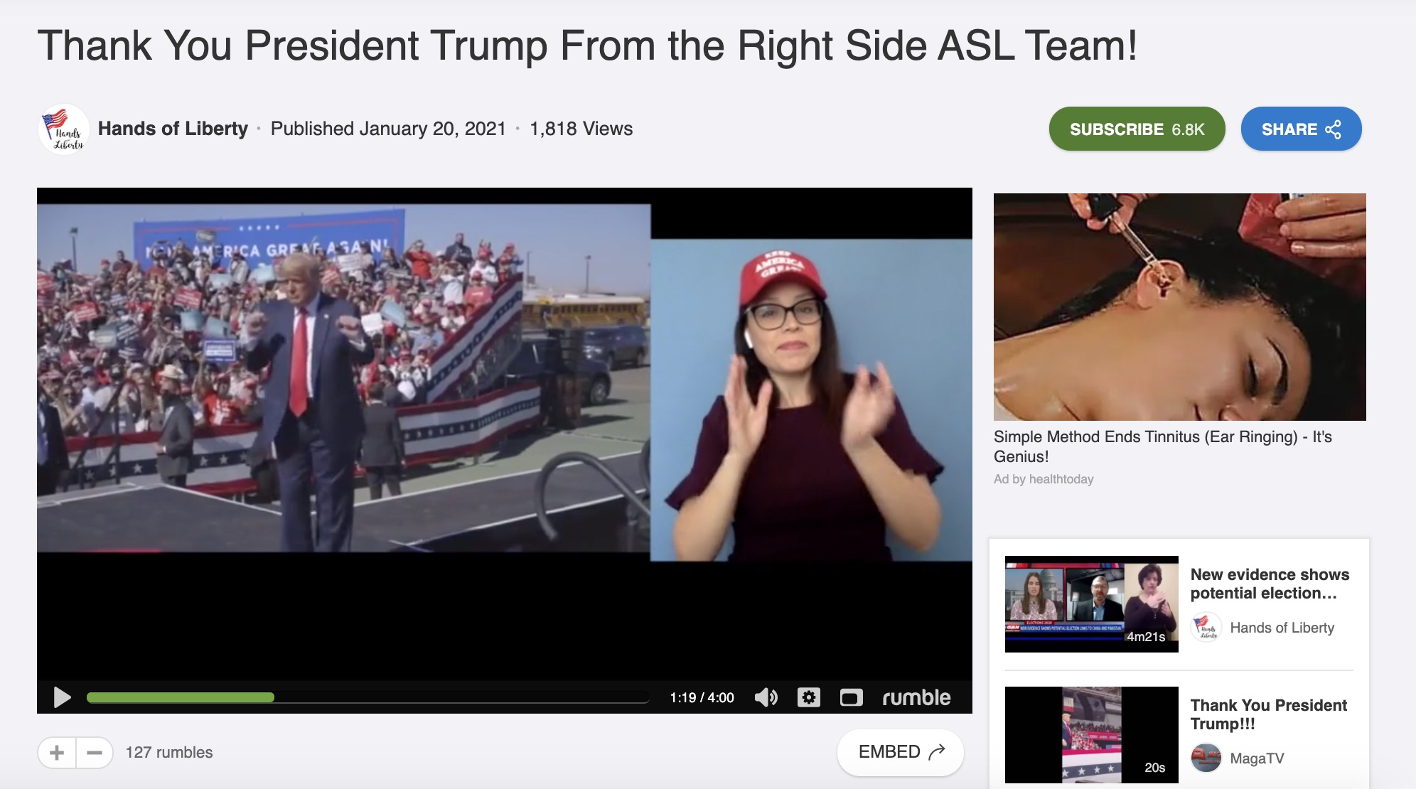Heather Mewshaw, an American Sign Language interpreter, in a pro-Trump video from Hands of Liberty, a conservative interpreter group.