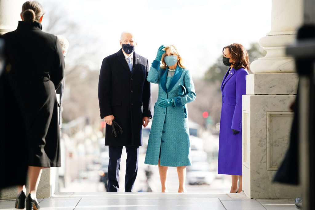 Joe Biden and Jill Biden, with Kamala Harris, arrived at the East Front of the U.S. Capitol for Biden's Inauguration ceremony.