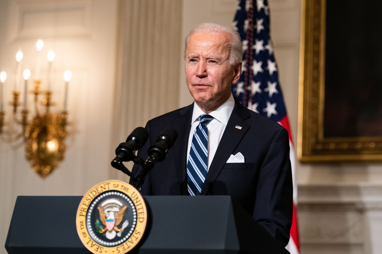 President Joe Biden speaks in the State Dining Room of the White House in Washington, D.C., on Jan. 27.