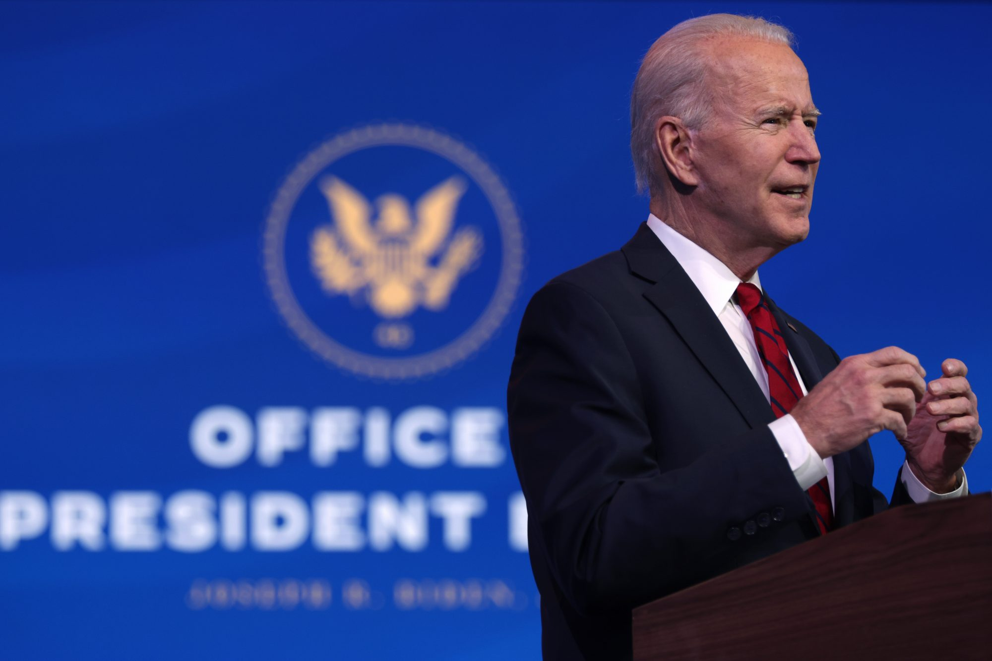 President Joe Biden speaks during day two of laying out his plan on combating the coronavirus in Wilmington, Del., on Jan. 15, 2021, about a week before taking office.