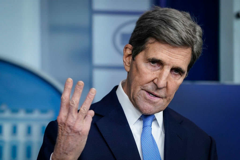 Special Presidential Envoy for Climate John Kerry speaks during a press briefing at the White House on Jan. 27