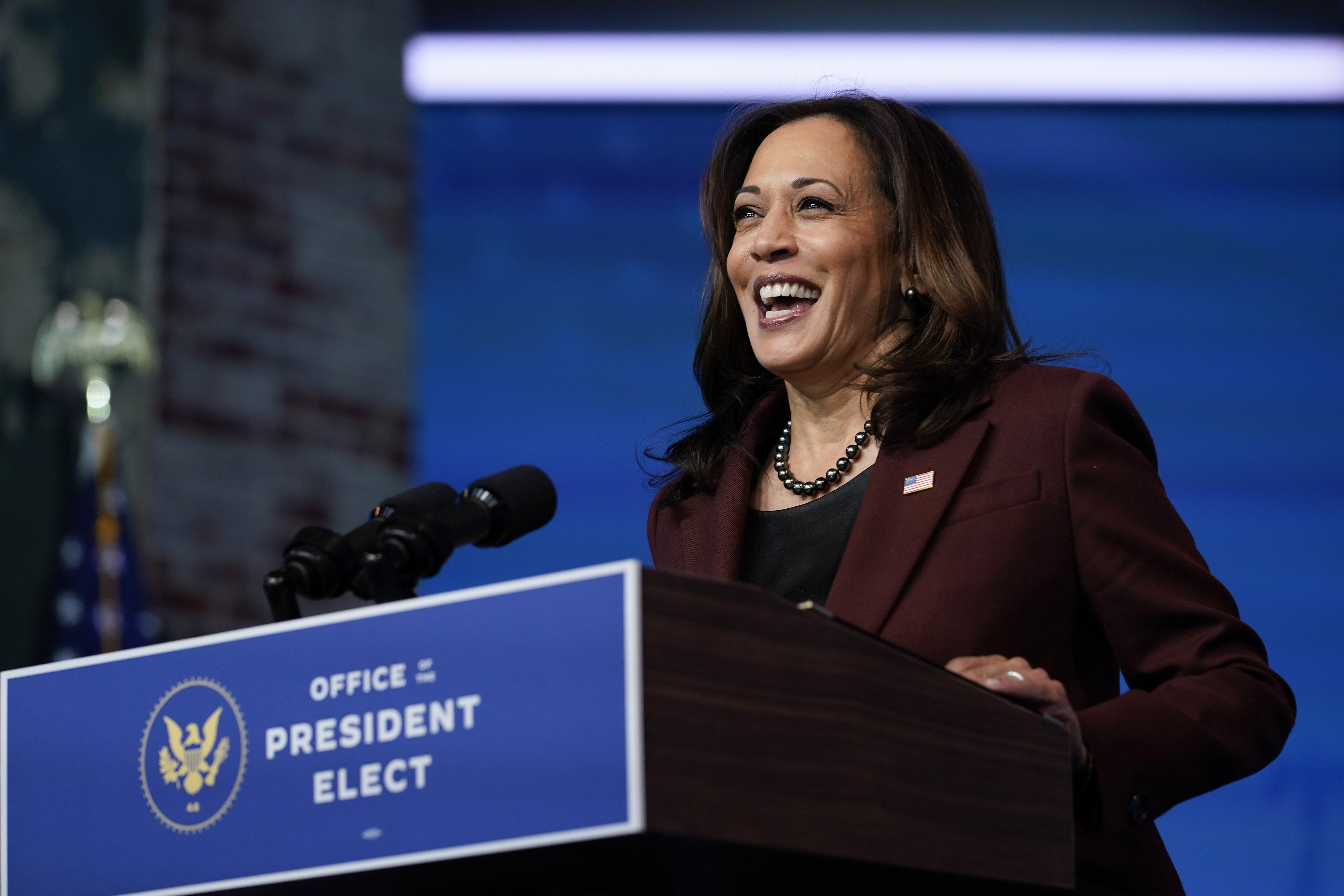 Vice President-elect Kamala Harris speaks as she and President-elect Joe Biden introduce their nominees and appointees to key national security and foreign policy posts at The Queen theater, in Wilmington, Del., on Nov. 24, 2020.