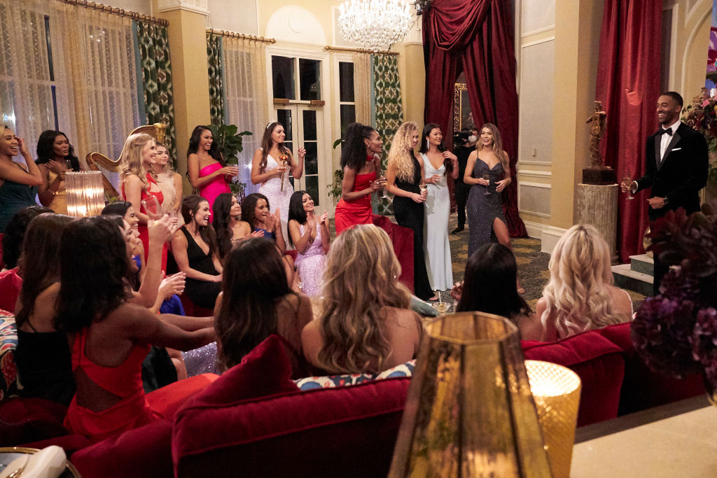Matt James gives a toast during the season premiere of 'The Bachelor'