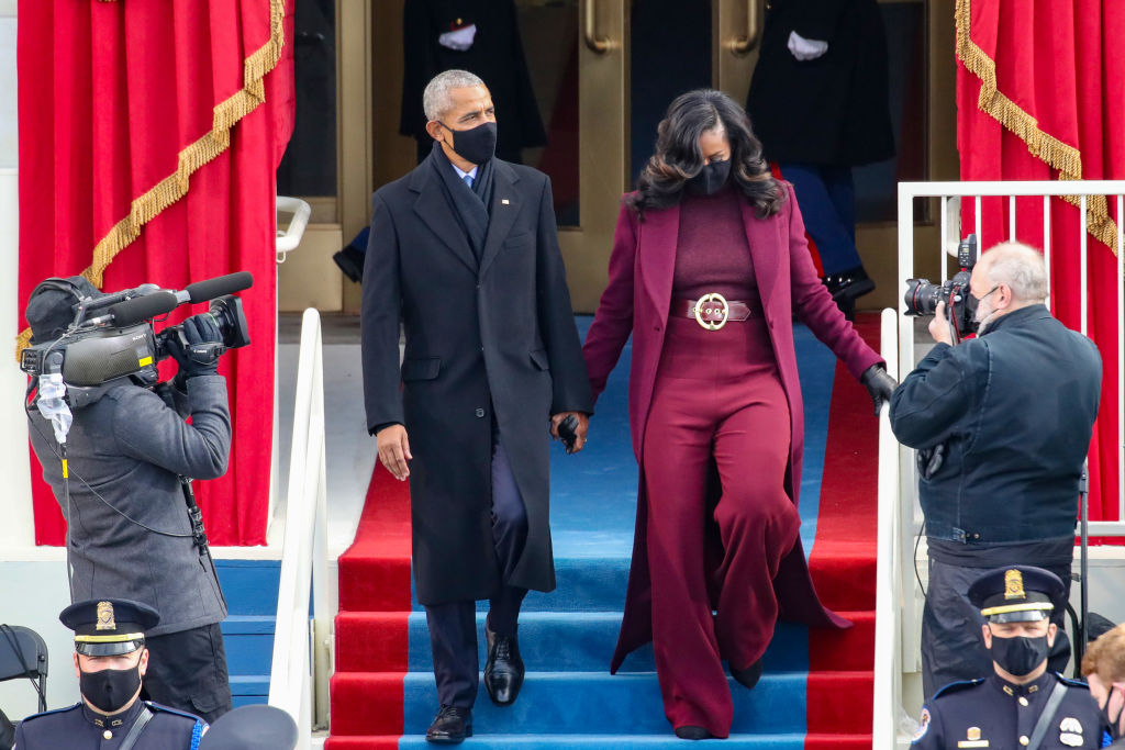 Barack Obama and Michelle Obama arrived at the Inauguration on Jan. 20, 2021 in Washington, D.C.
