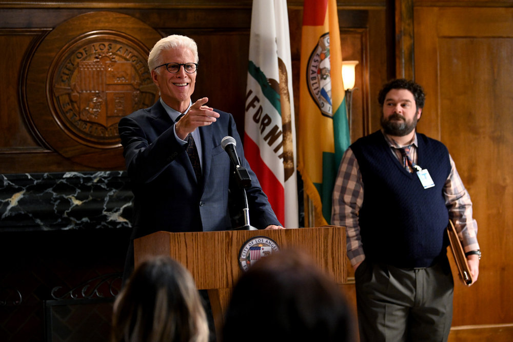 Ted Danson (left) and Bobby Moynihan in 'Mr. Mayor'