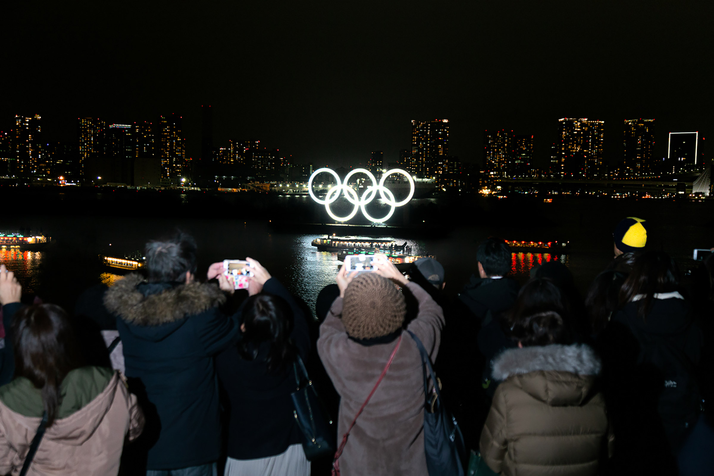 The Olympic logo floats in TokyoBay in December 2019, before the pandemic struck
