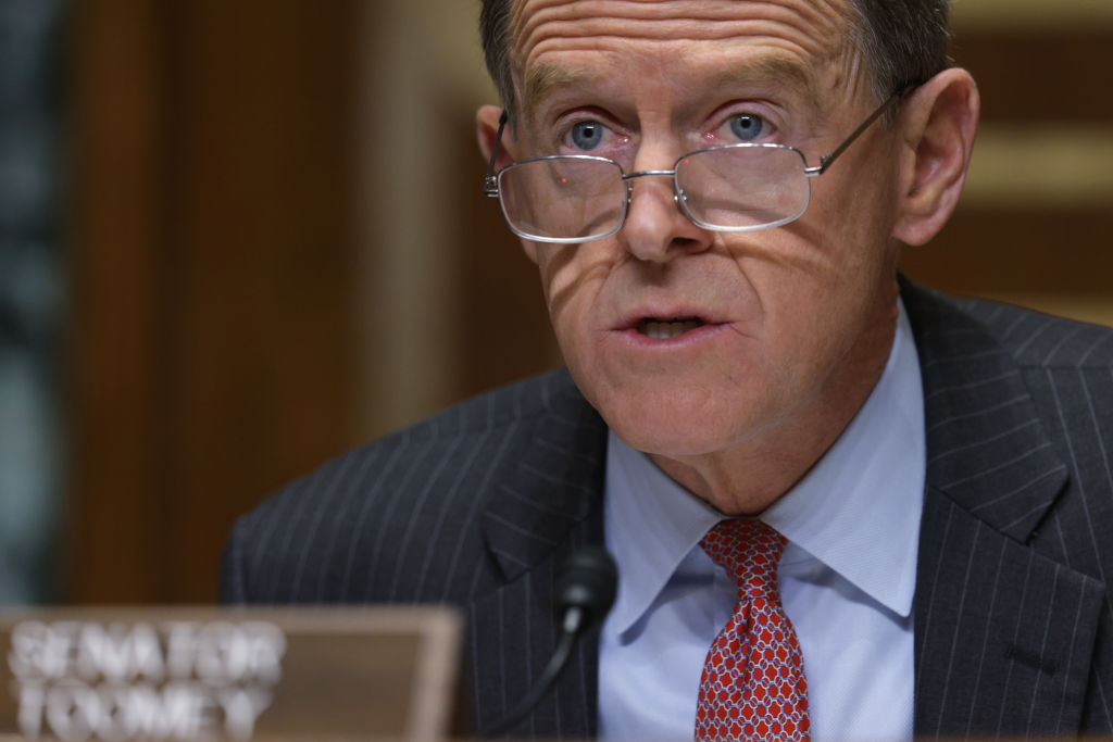 Senator Pat Toomey, a Republican from Pennsylvania, speaks during a Congressional Oversight Committee hearing in Washington, D.C., on Dec. 10, 2020.