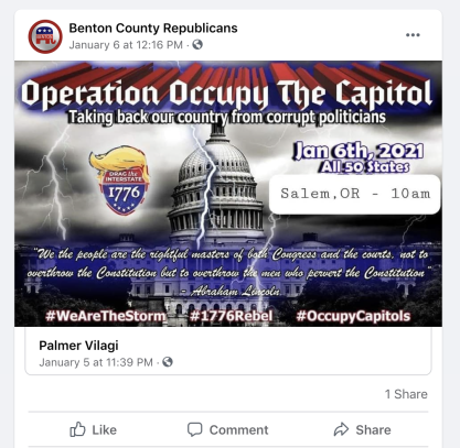 A screenshot, captured Jan. 15, illustrating a post on one local Republican Party chapter's Facebook page