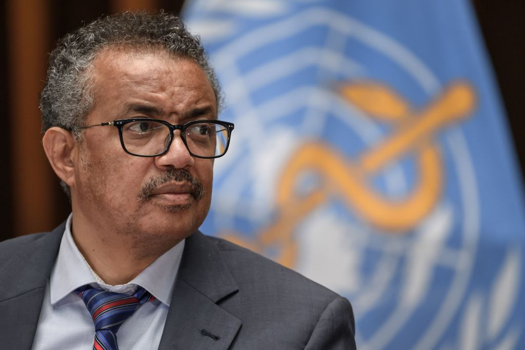 World Health Organization (WHO) Director-General Tedros Adhanom Ghebreyesus attends a press conference organized by the Geneva Association of United Nations Correspondents (ACANU) amid the COVID-19 outbreak, caused by the novel coronavirus, on July 3, 2020 at the WHO headquarters in Geneva.
