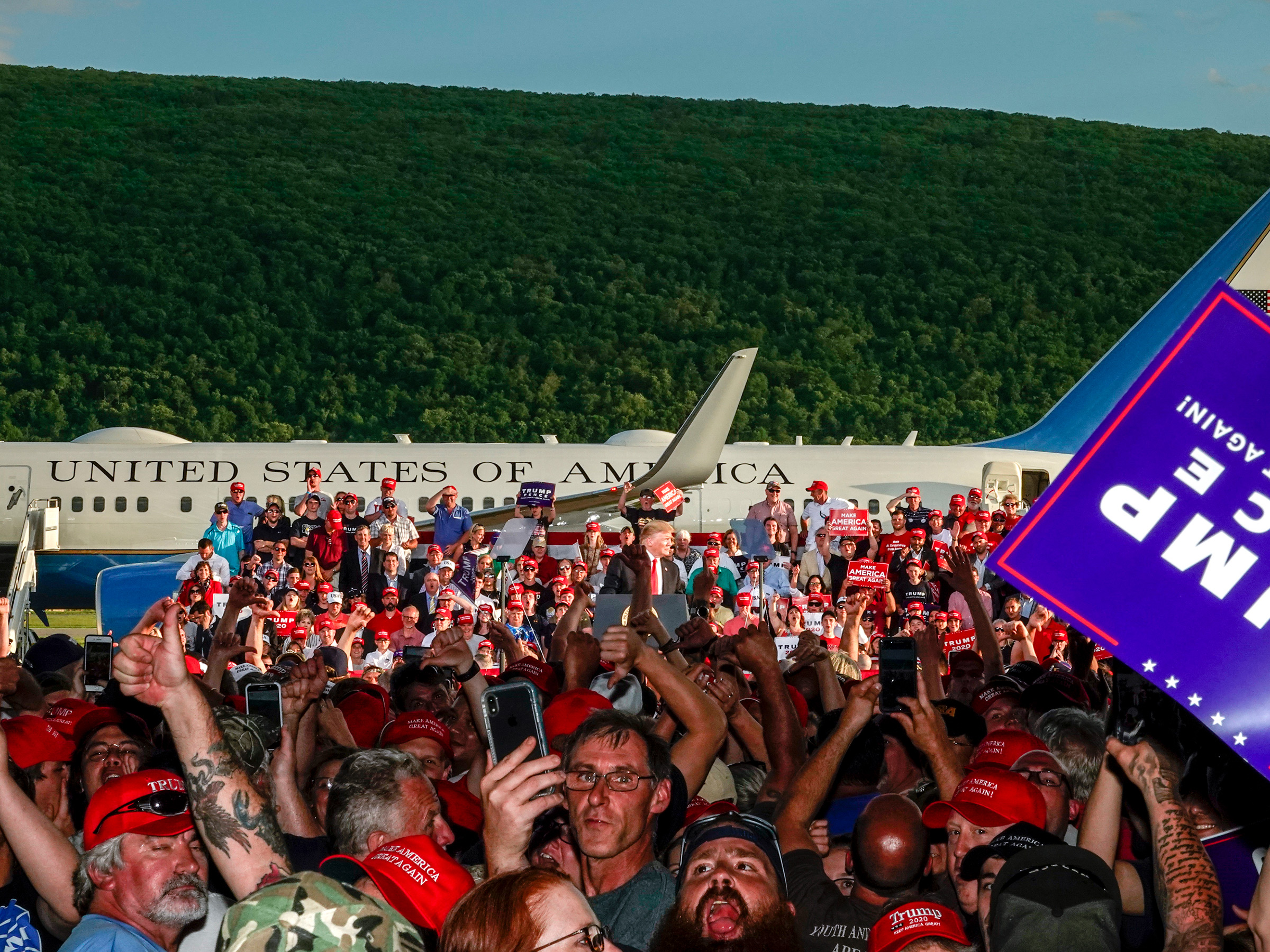 Montoursville, Pa., May 20, 2019. President Trump complains about at the media during a campaign rally, causing the crowd to jeer at the press.