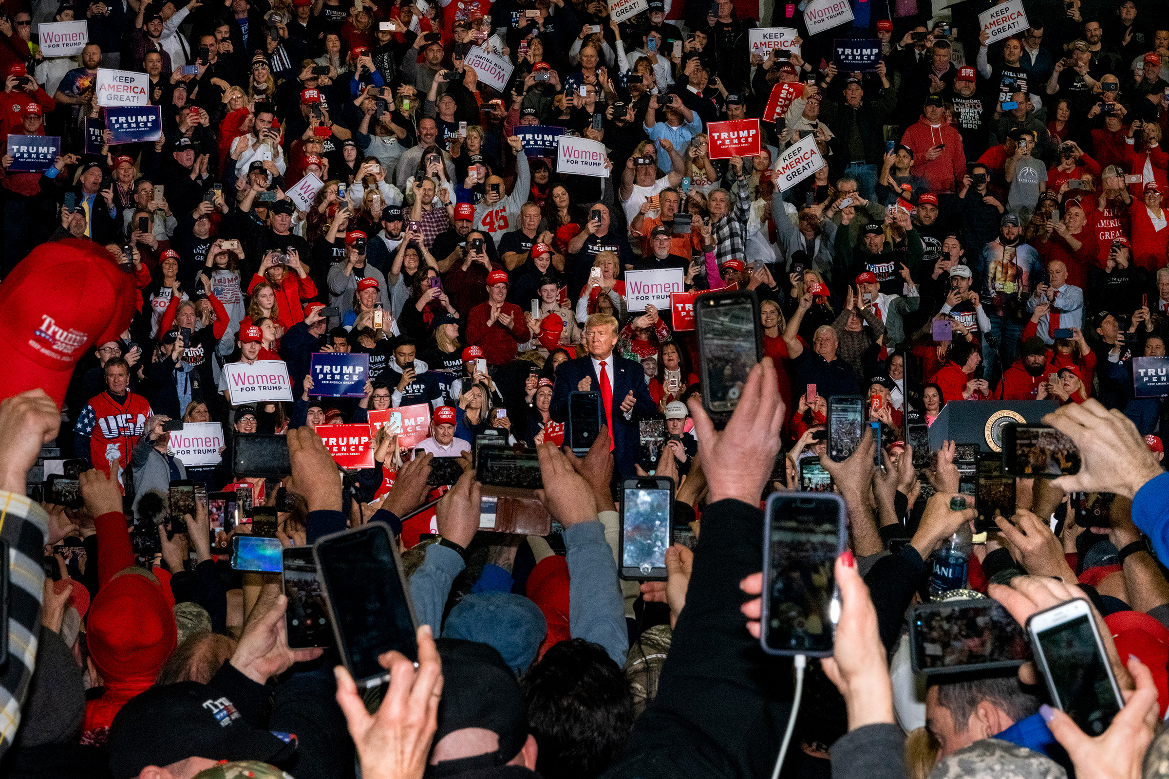 Wildwood, N.J., Jan. 28, 2020.  Trump rallies have a certain formula. He is a showman trying out new lines and new tricks to see how the audience responds. The successful lines become part of the act, and the rest are discarded. He always stokes anger at the 'fake news,' and thousands turn around to boo the media and give us the finger. Yet when we talk to Trump's supporters before and after his speech, they are generally kind and polite. After I had a violent encounter with a mob in Egypt in 2011, I know how quickly and easily groups of people can turn.