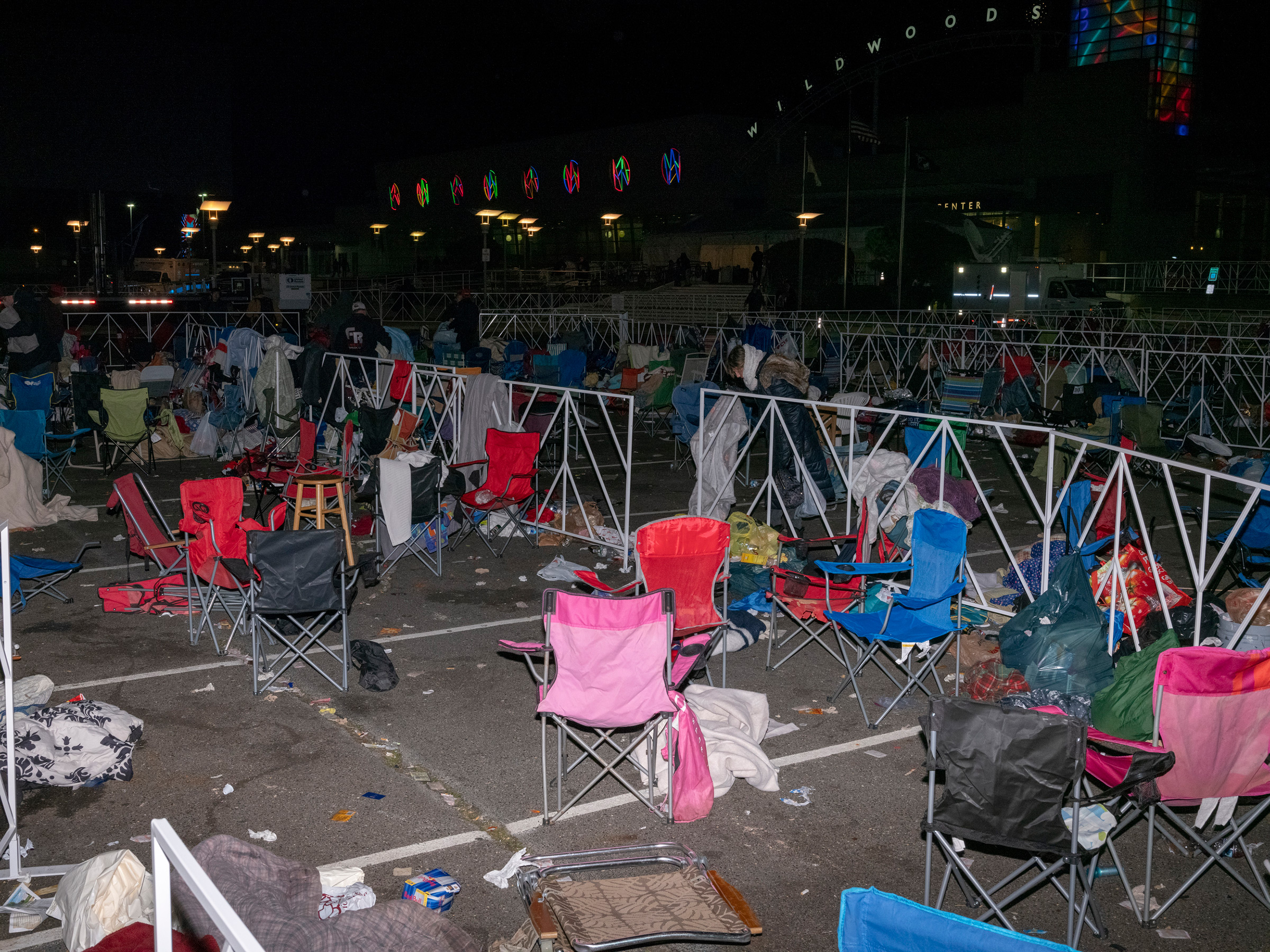 Wildwood, N.J., Jan. 28, 2020. After Trump's campaign events,  there is always a mountain of discarded chairs and coolers that aren't allowed into the rally. People wait in line for hours, even days, in order to get a prime place to watch the President speak.