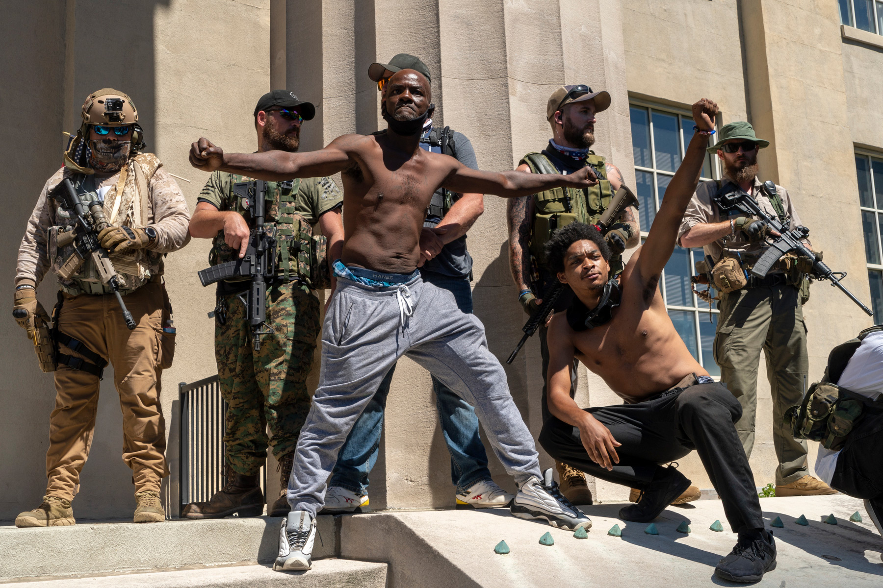 Louisville, Ky., Sept. 5, 2020. Protesters taunt militia members who had marched on Breonna Taylor Square.