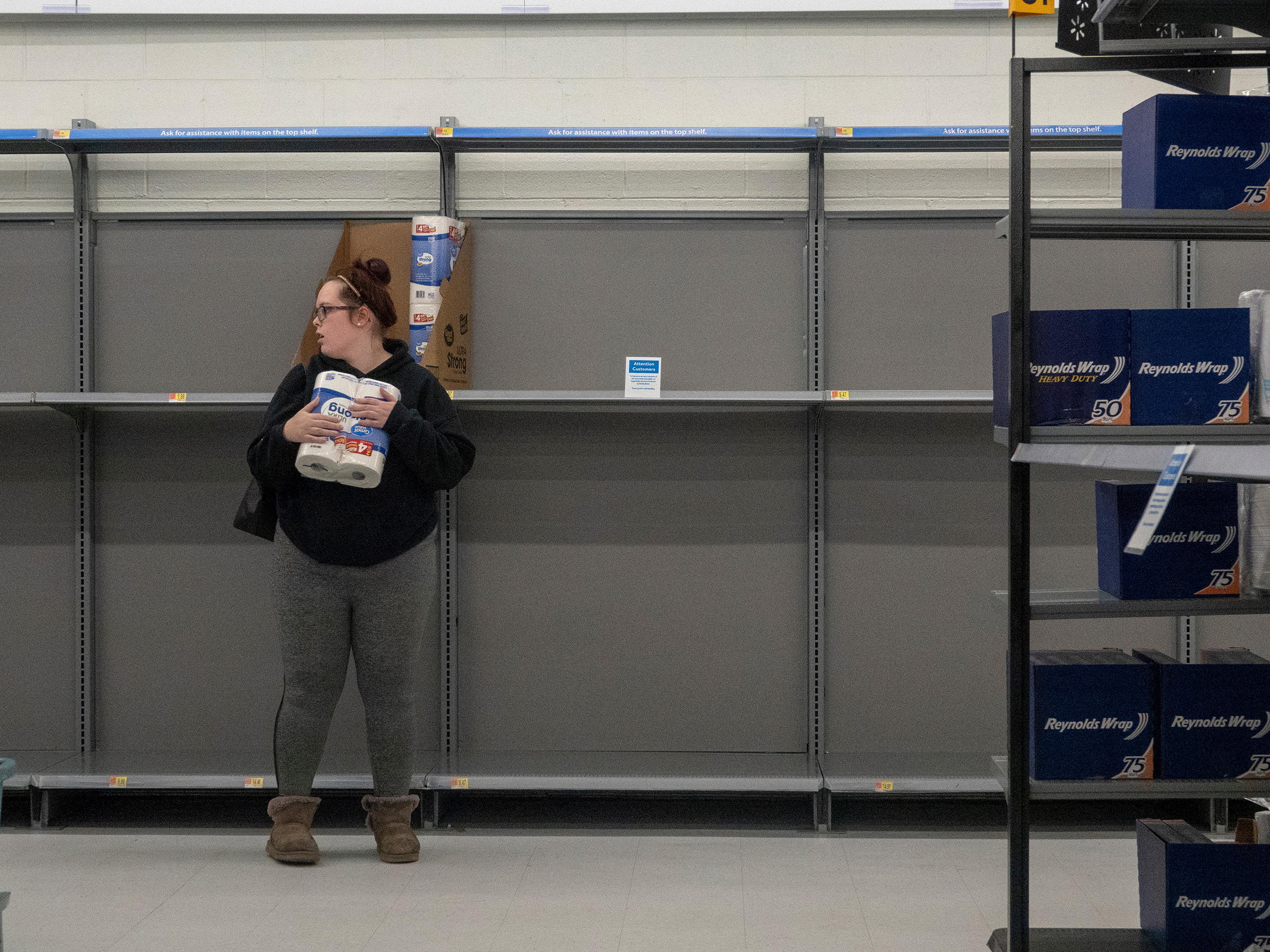 Easton, Md., March 28, 2020. A nearly empty toilet paper and paper towel aisle during the coronavirus lockdown.
