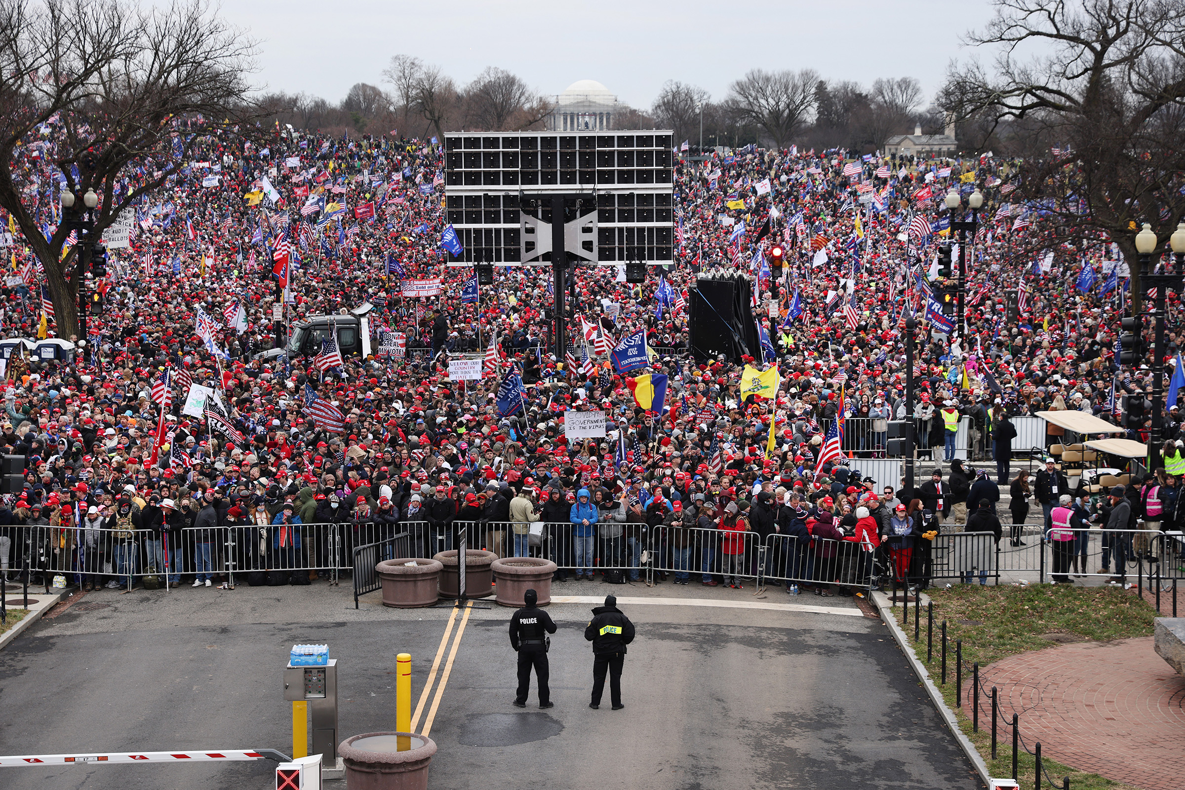 Crowds arrive for the  Stop the Steal  rally in Washington, DC., on Jan. 6, 2021.