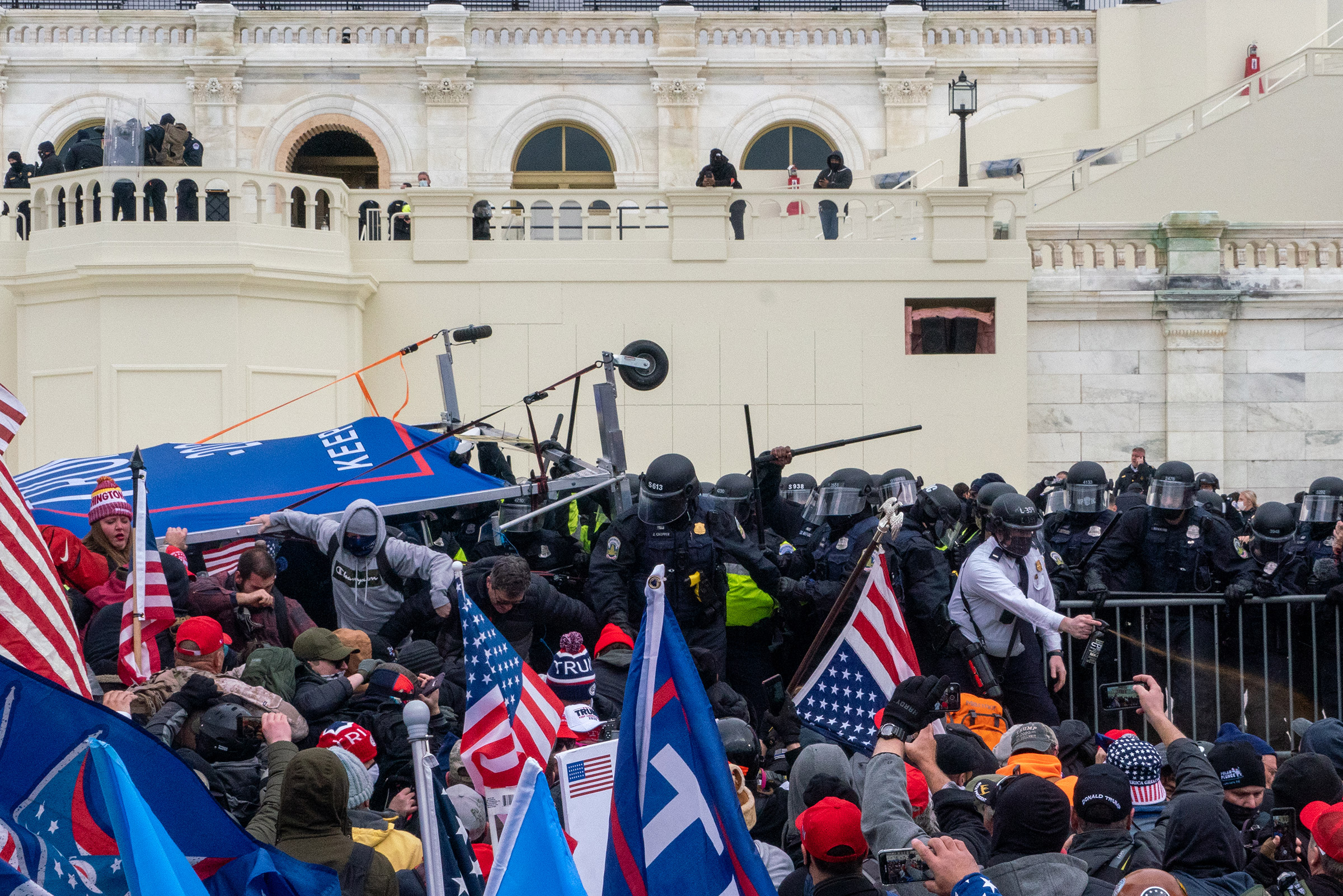 Pro-Trump rioters clash with police before gaining entry to the U.S. Capitol following an inflammatory speech by President Trump on Jan. 6.