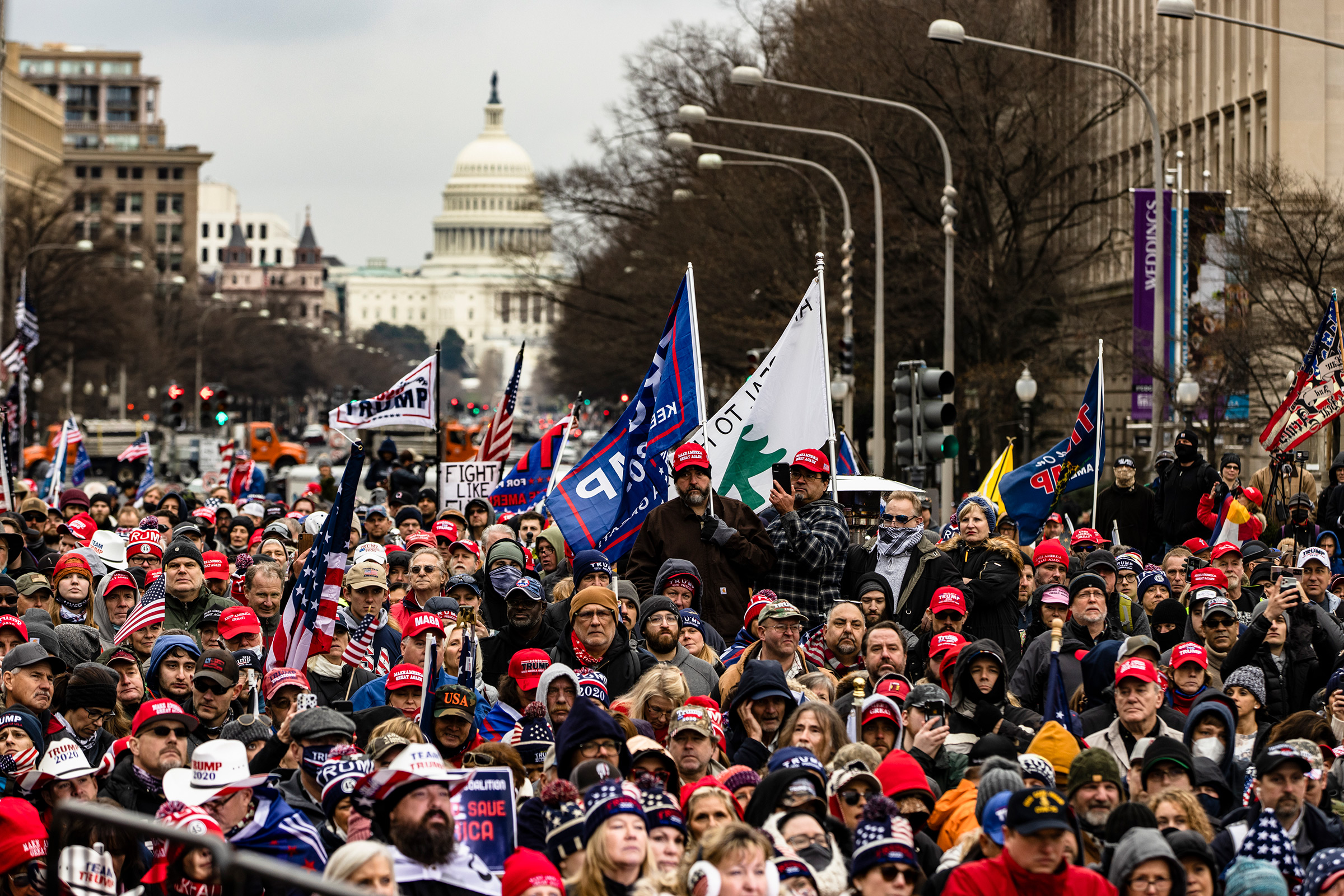 Supporters of President Donald Trump gather in Freedom Plaza for a rally in Washington, DC., on January 5, 2021. Today's rally kicks off two days of pro-Trump events fueled by the President's continued claims of election fraud.