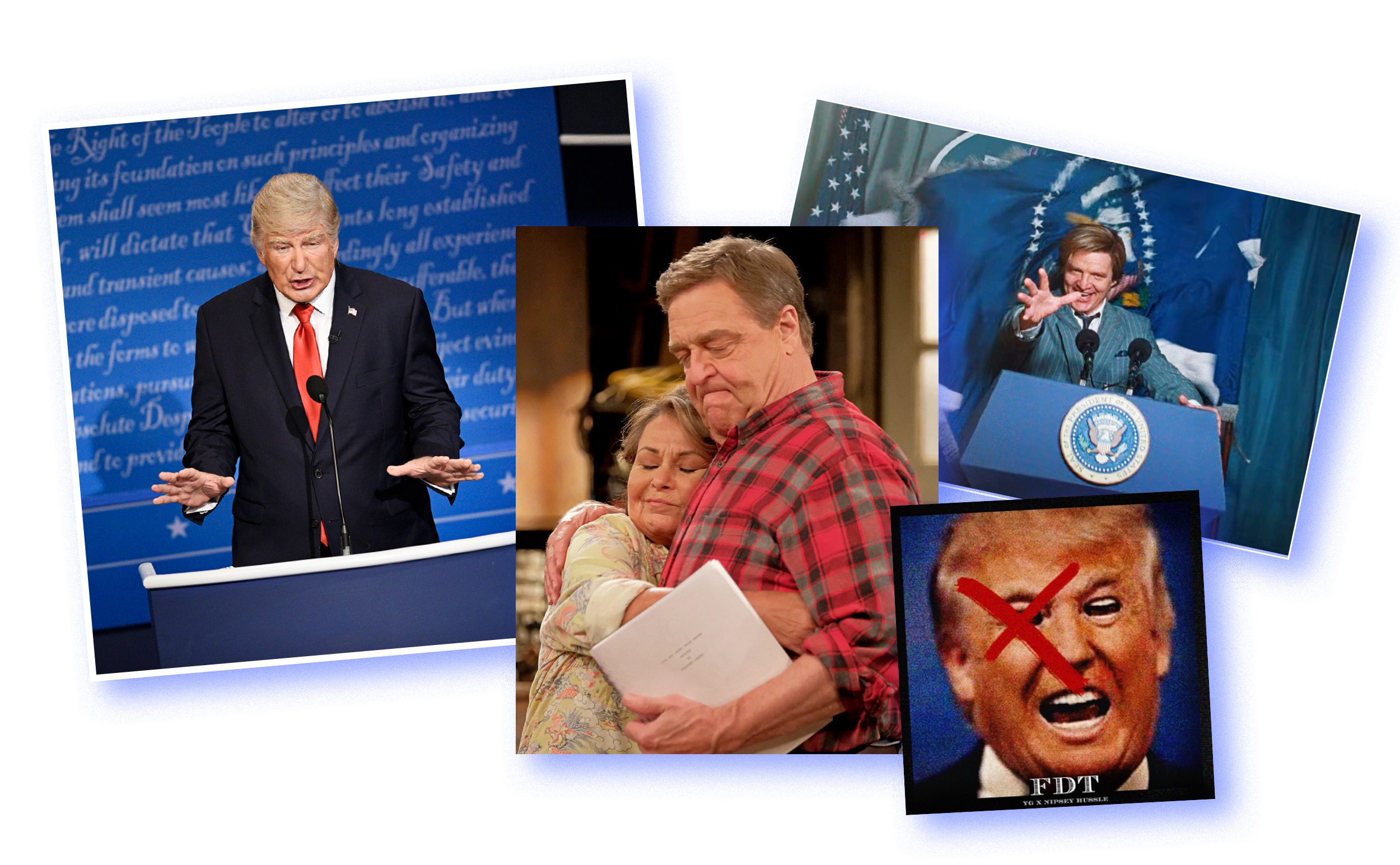 Alec Baldwin on 'Saturday Night Live'; Roseanne Barr and John Goodman on 'Roseanne'; Pedro Pascal in 'Wonder Woman 1984'; artwork for the song 'FDT' by YG and Nipsey Hussle