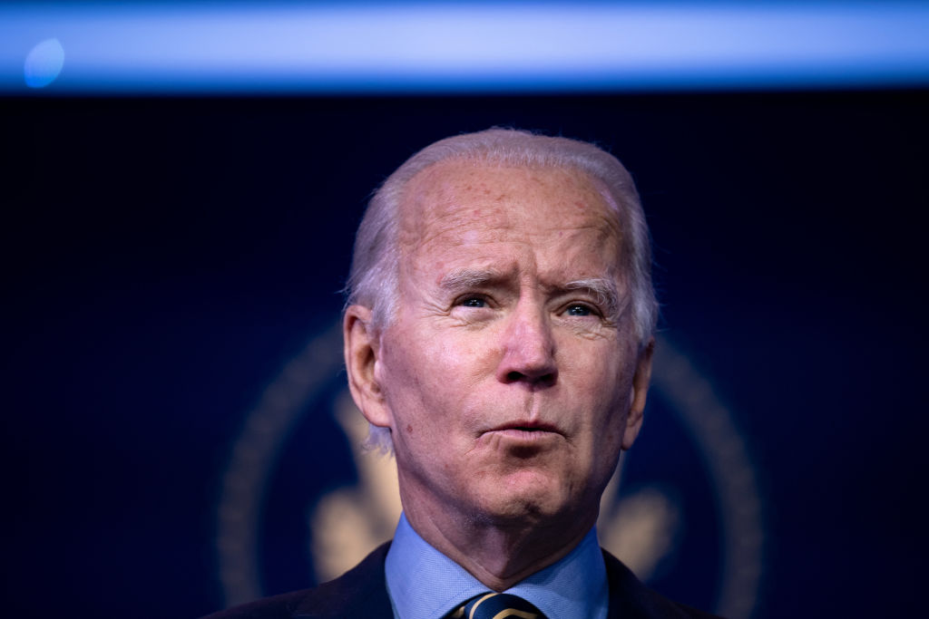 US President-elect Joe Biden speaks about a foreign policy and national security virtual briefing he held earlier at the Queen Theater on December 28, 2020, in Wilmington, Delaware. (Photo by Brendan Smialowski / AFP) (Photo by BRENDAN SMIALOWSKI/AFP via Getty Images)