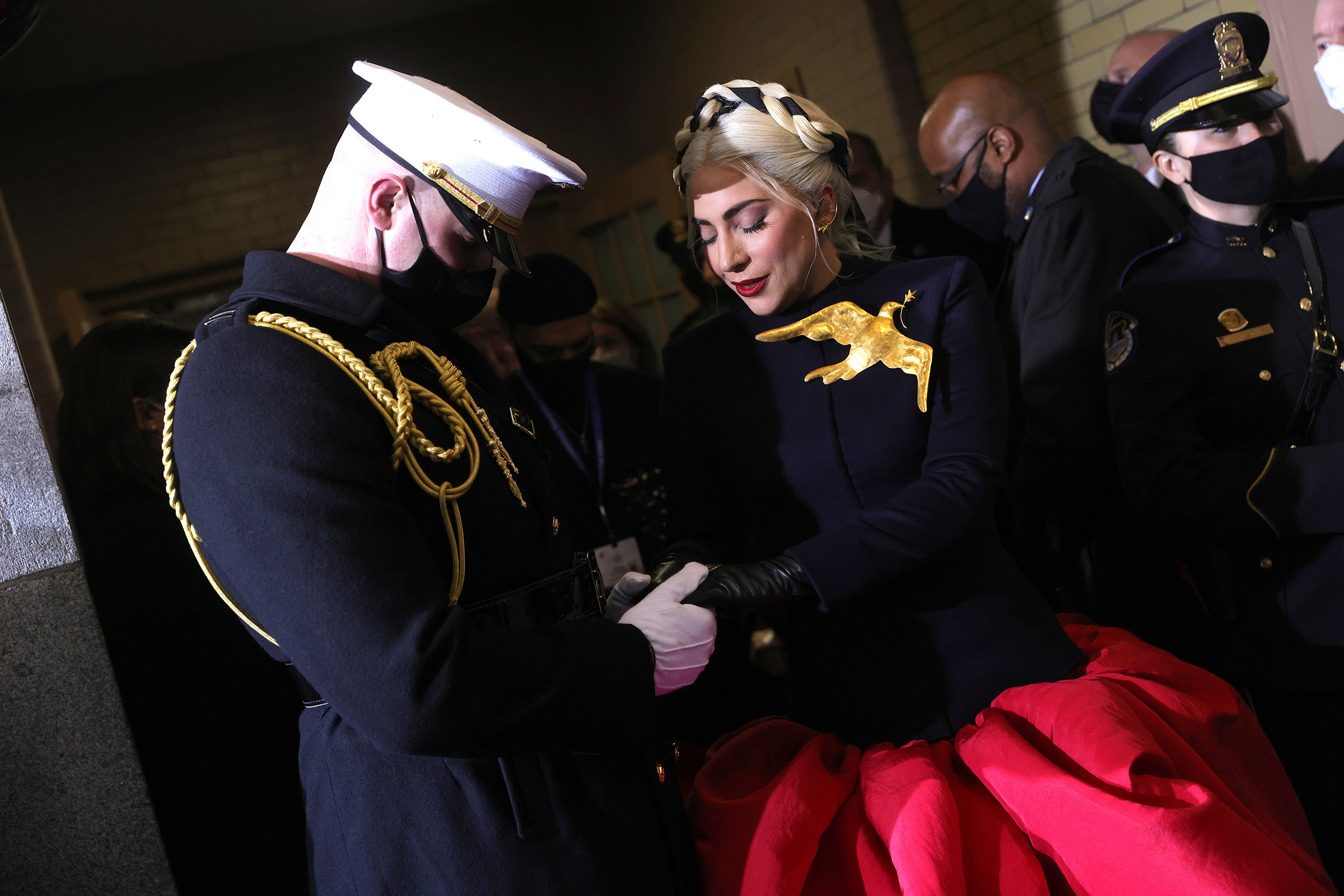 Lady Gaga arrives to sing the National Anthem at the inauguration.