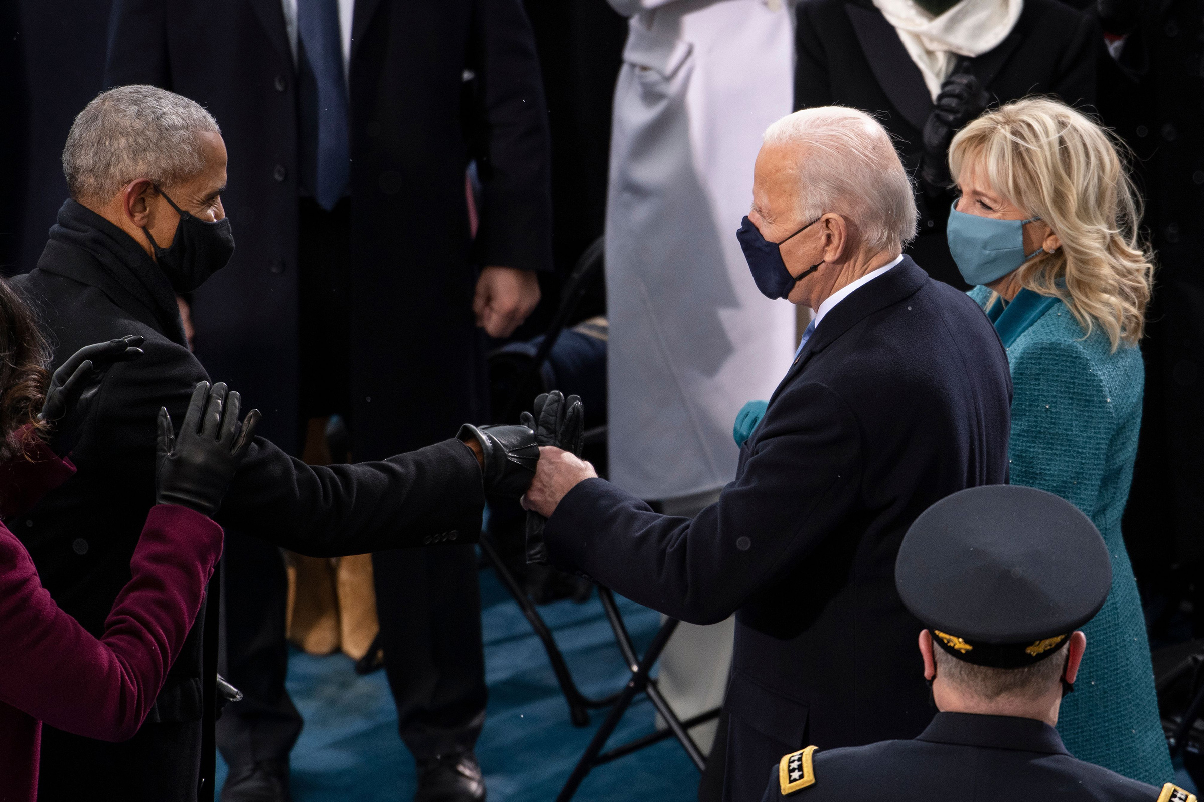 President-elect Joe Biden greets President Barack Obama as he arrives to the West Front of the Capitol.