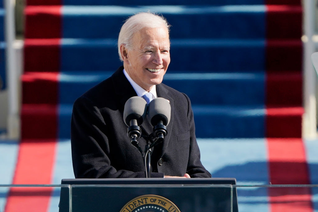 President Joe Biden speaks during the the 59th inaugural ceremony on the West Front of the U.S. Capitol on January 20, 2021 in Washington, DC.  During today's inauguration ceremony Joe Biden becomes the 46th president of the United States.