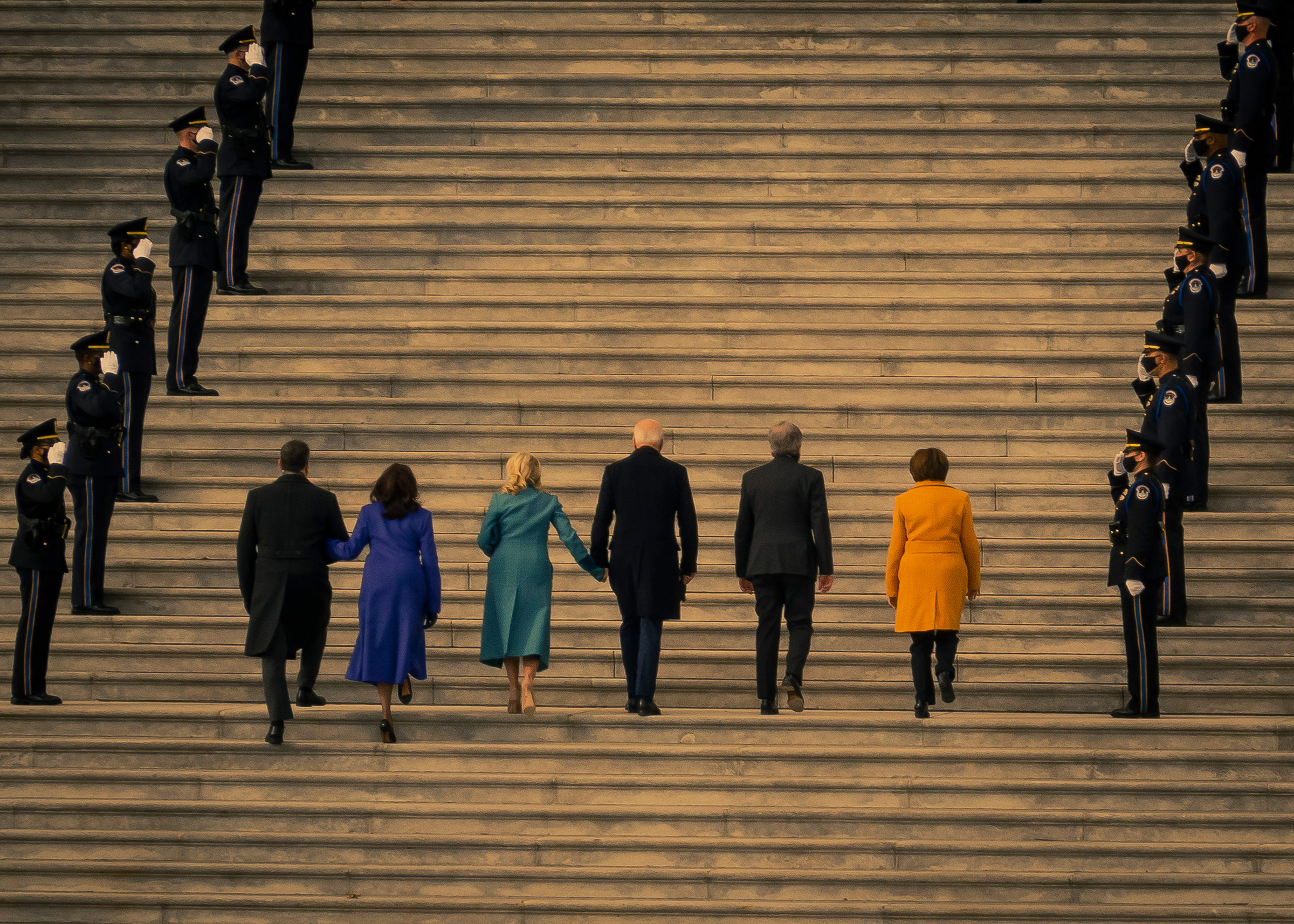 President-elect Joe Biden and Vice President-elect Kamala Harris arrive at the East Front steps of the U.S. Capitol prior the 2021 Presidential Inauguration.