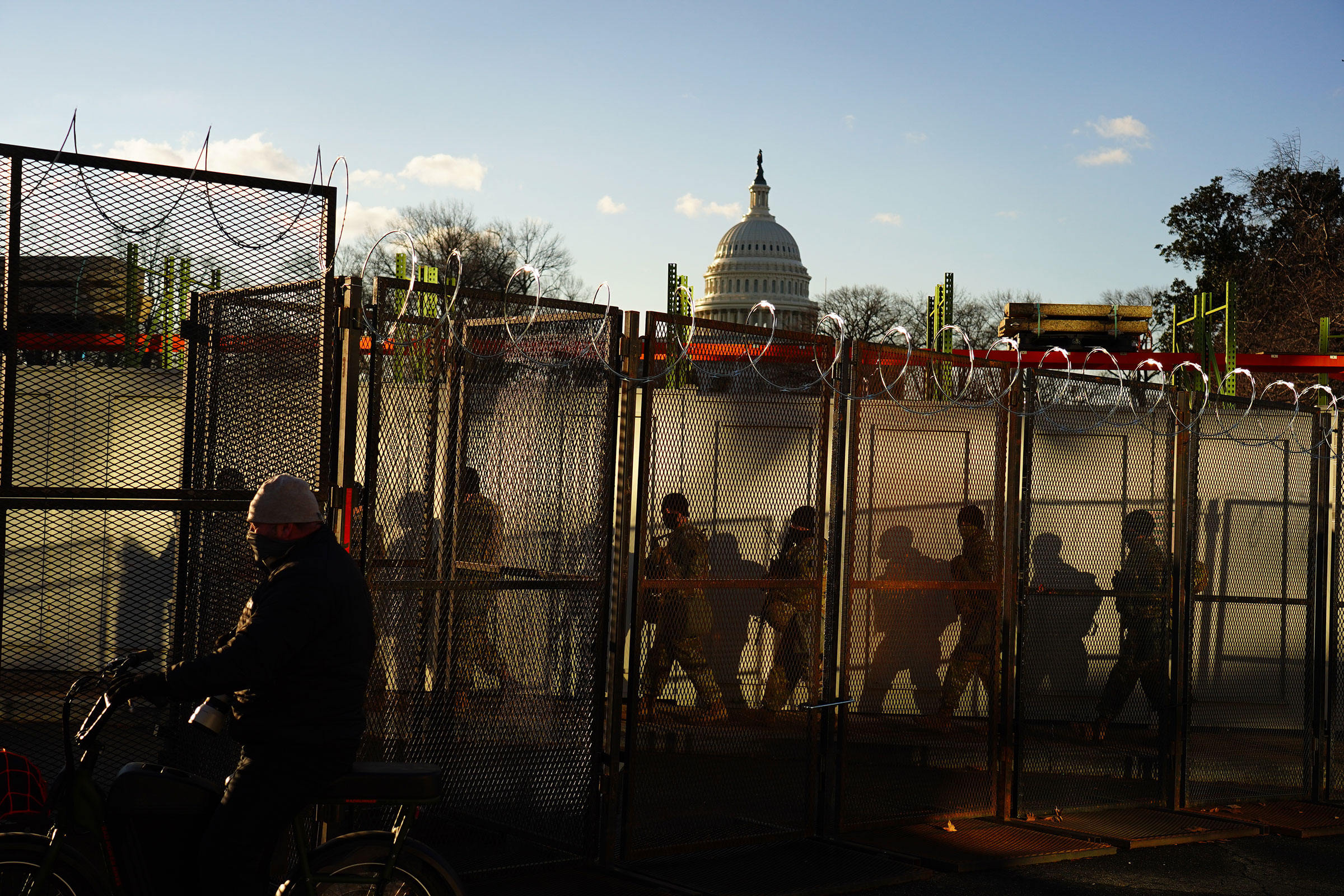 Security and fencing in front of the U.S. Capitol building prior to the start inauguration.