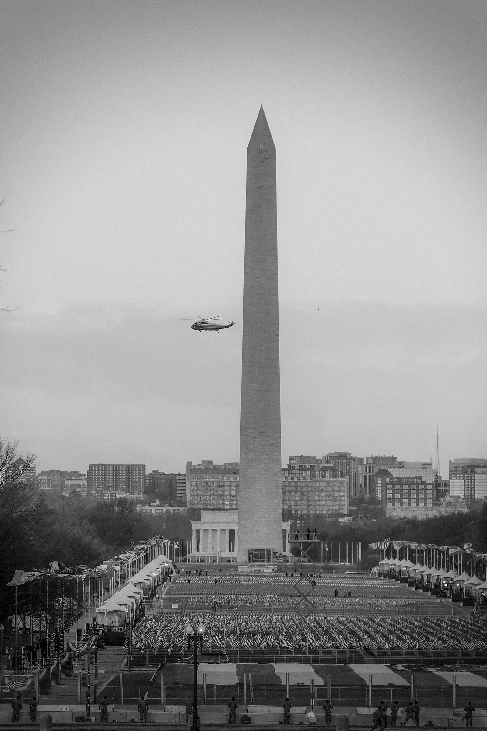 Marine One circles the National Mall carrying Donald Trump as he departs the White House ahead of the inauguration.