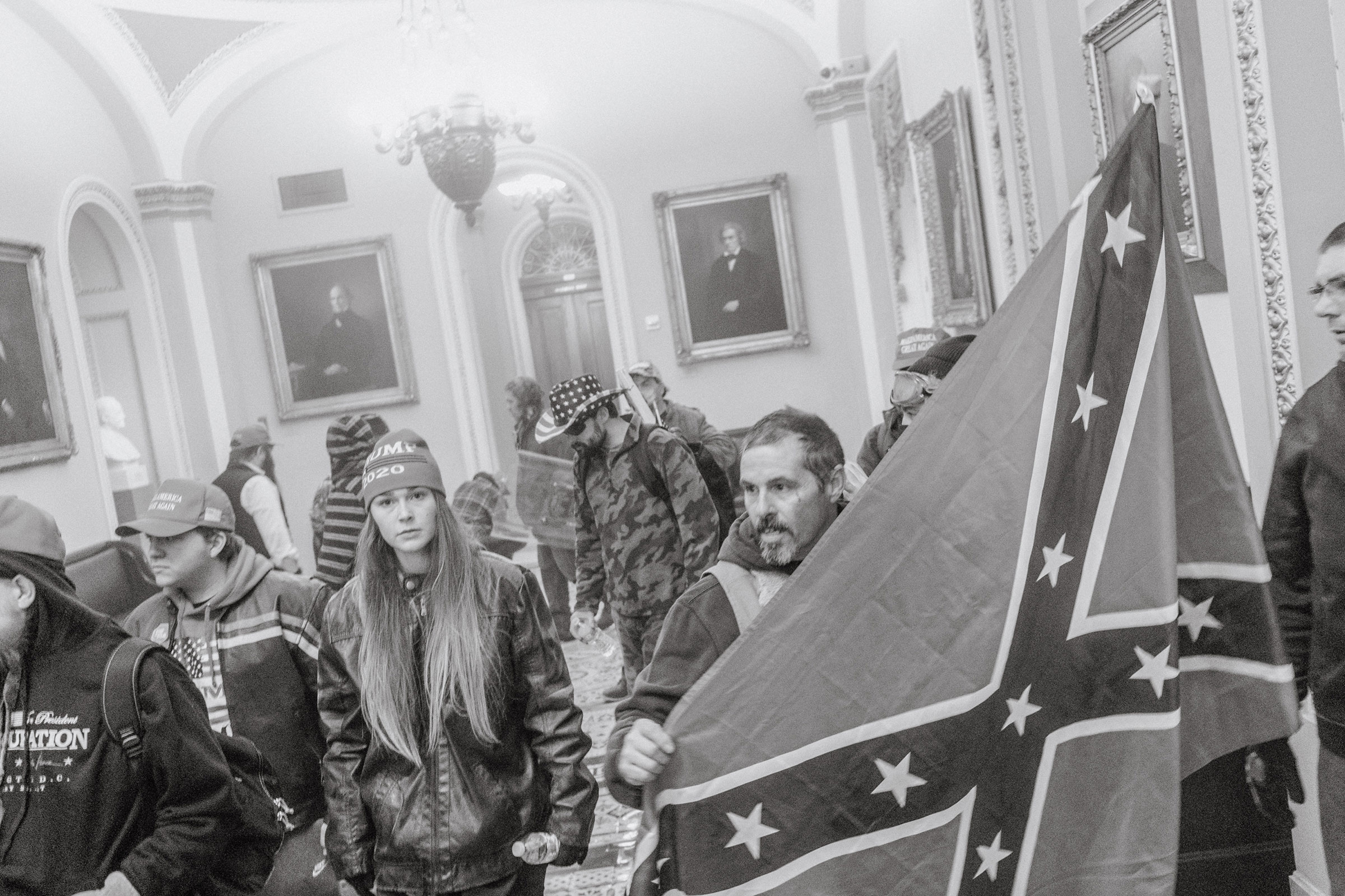 Pro-Trump rioters seen inside the Capitol on Jan. 6.
