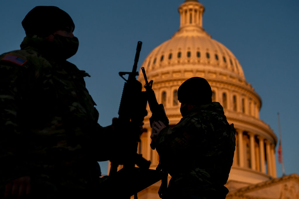 Weapons are distributed to members of the National Guard outside the U.S. Capitol on January 13, 2021 in Washington, DC. Security has been increased throughout Washington following the breach of the U.S. Capitol last Wednesday, and leading up to the Presidential inauguration.