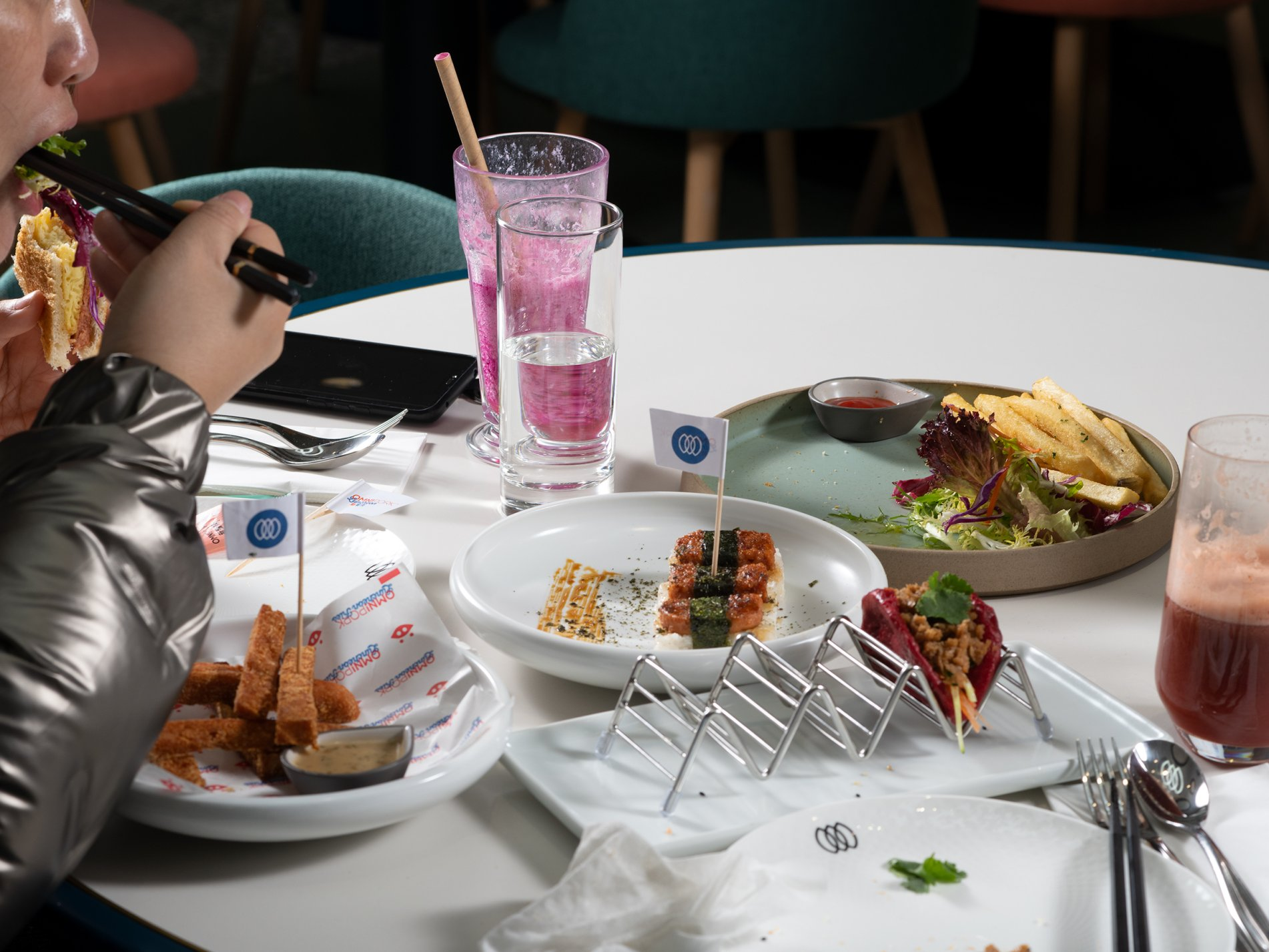 A customer tucks into a meat-free banquet at Green Common café in Shanghai on Jan. 13