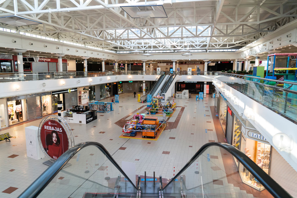 The Valle Real Shopping Center in Santander, Spain on January 16, 2021 with all stores closed due to the entry into force of the order to close large shopping areas on weekends to avoid the rise of infections by covid-19