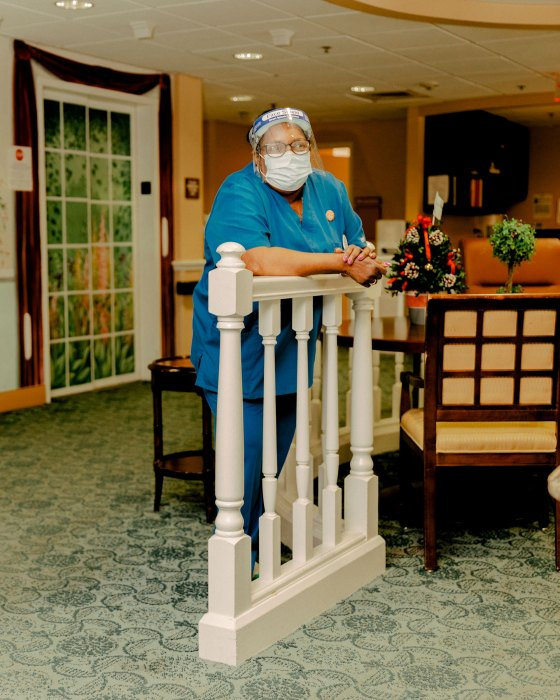Lil Parks, an employee at Westminster Place senior living community, poses for a portrait on Jan. 6, 2021 - Lil received a COVID-19 Vaccine that day