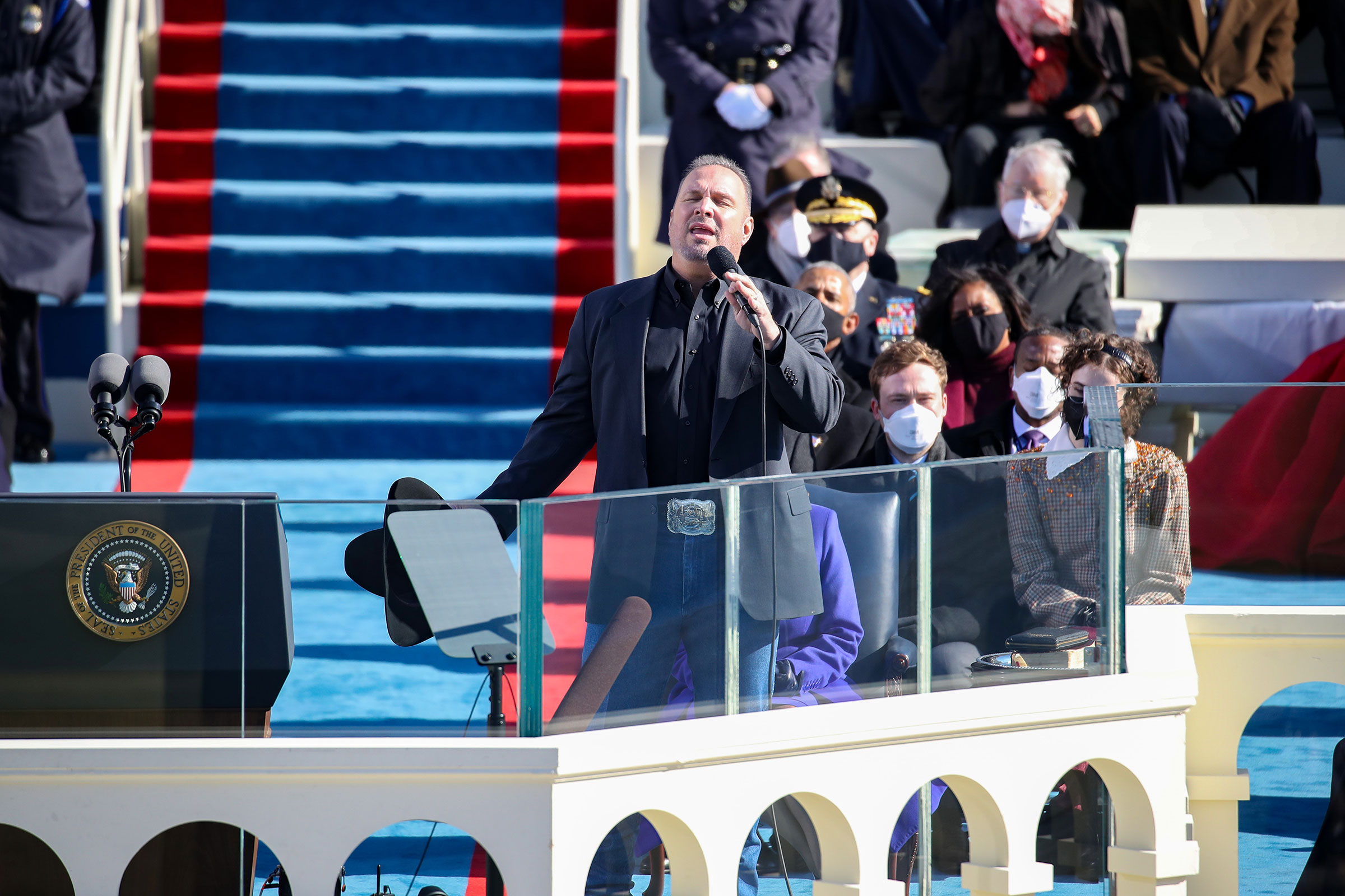 Garth Brooks performs at the inauguration of President Joe Biden and Vice President Kamala Harris on the West Front of the Capitol in Washington on Jan. 20, 2021.